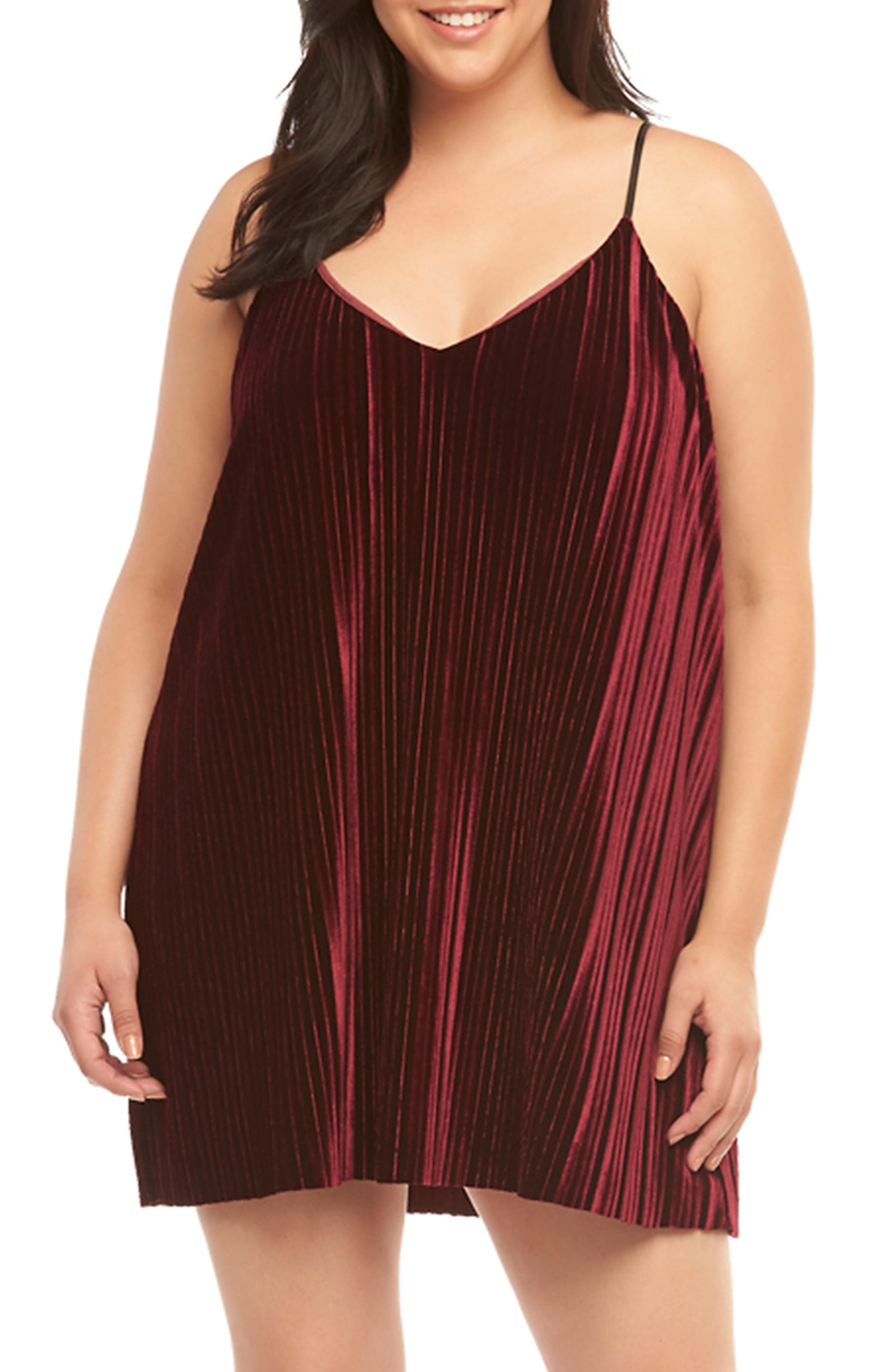 Plus Size Tart Oda Pleat Velvet Slipdress, Red