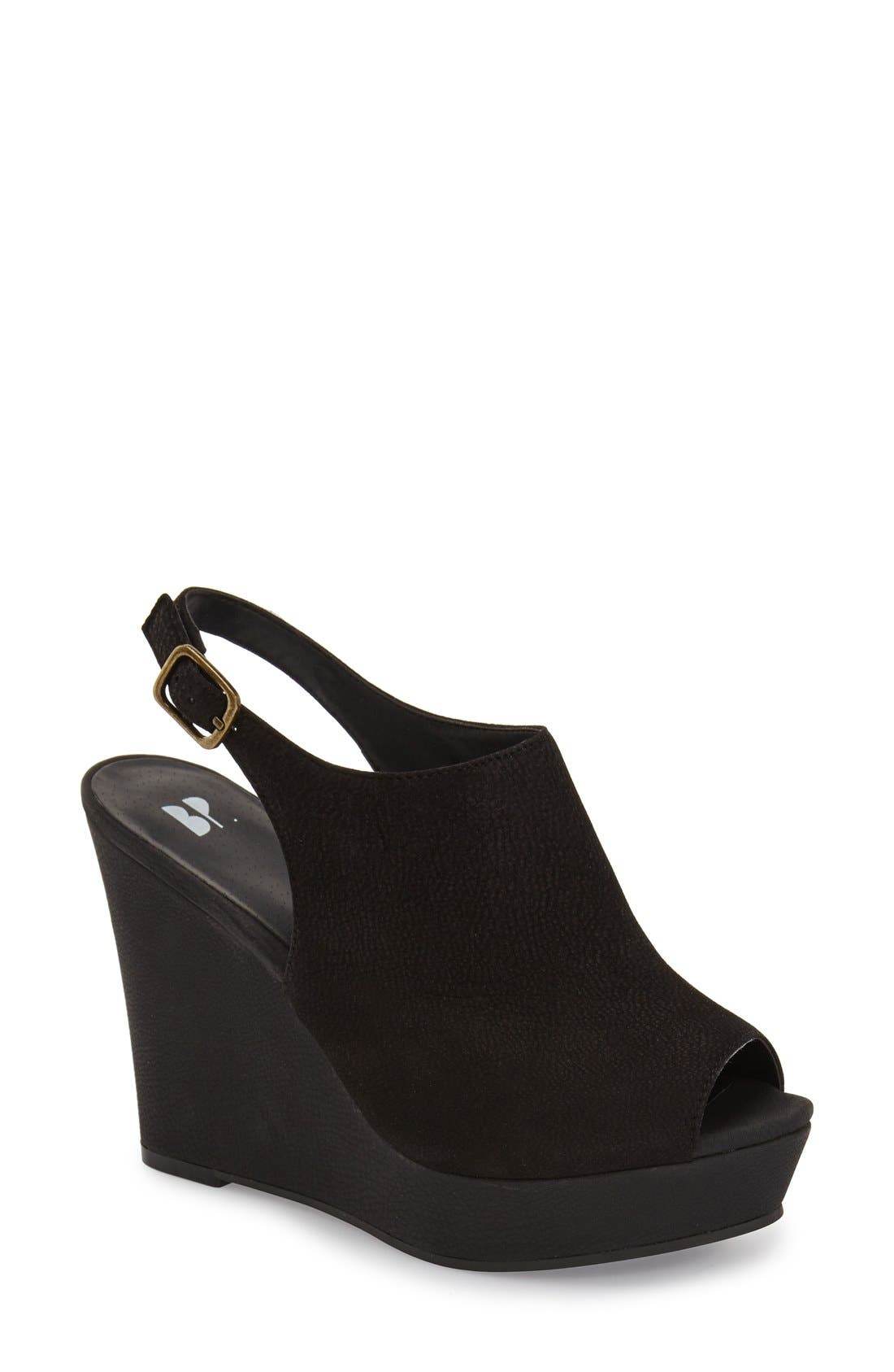 'Roundabout' Slingback Peep Toe Wedge,                             Main thumbnail 1, color,                             001