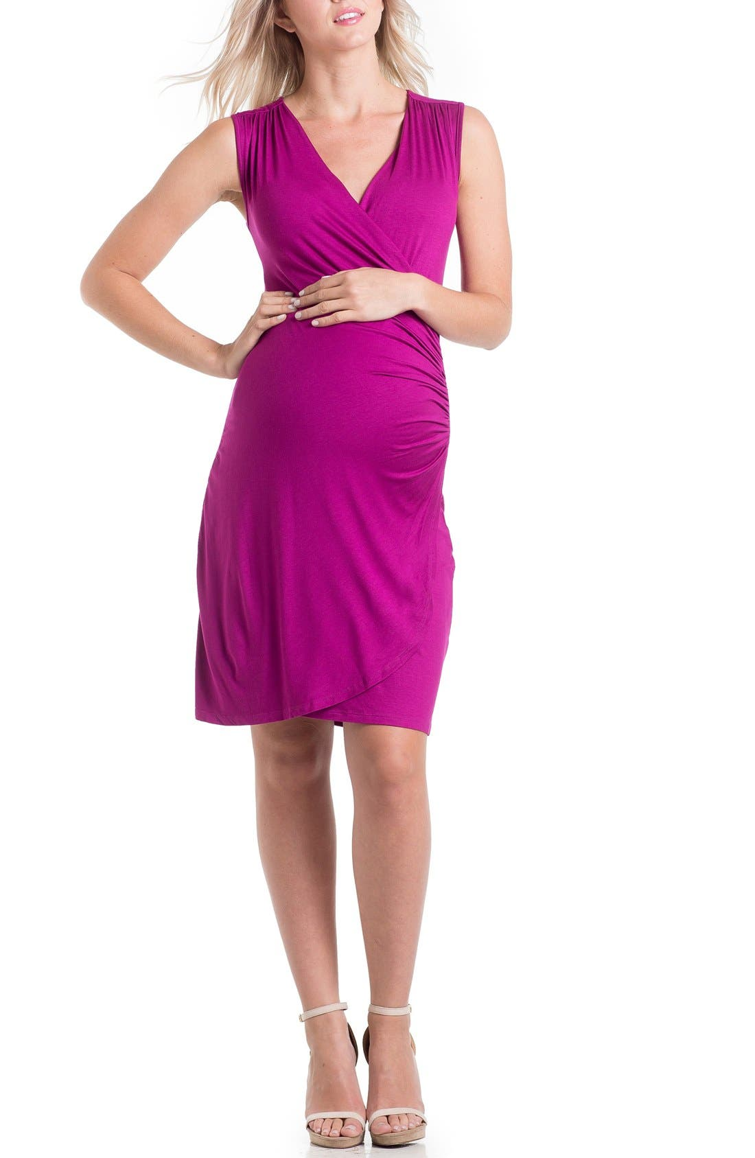 'Brynley' Surplice Maternity Dress,                             Main thumbnail 4, color,