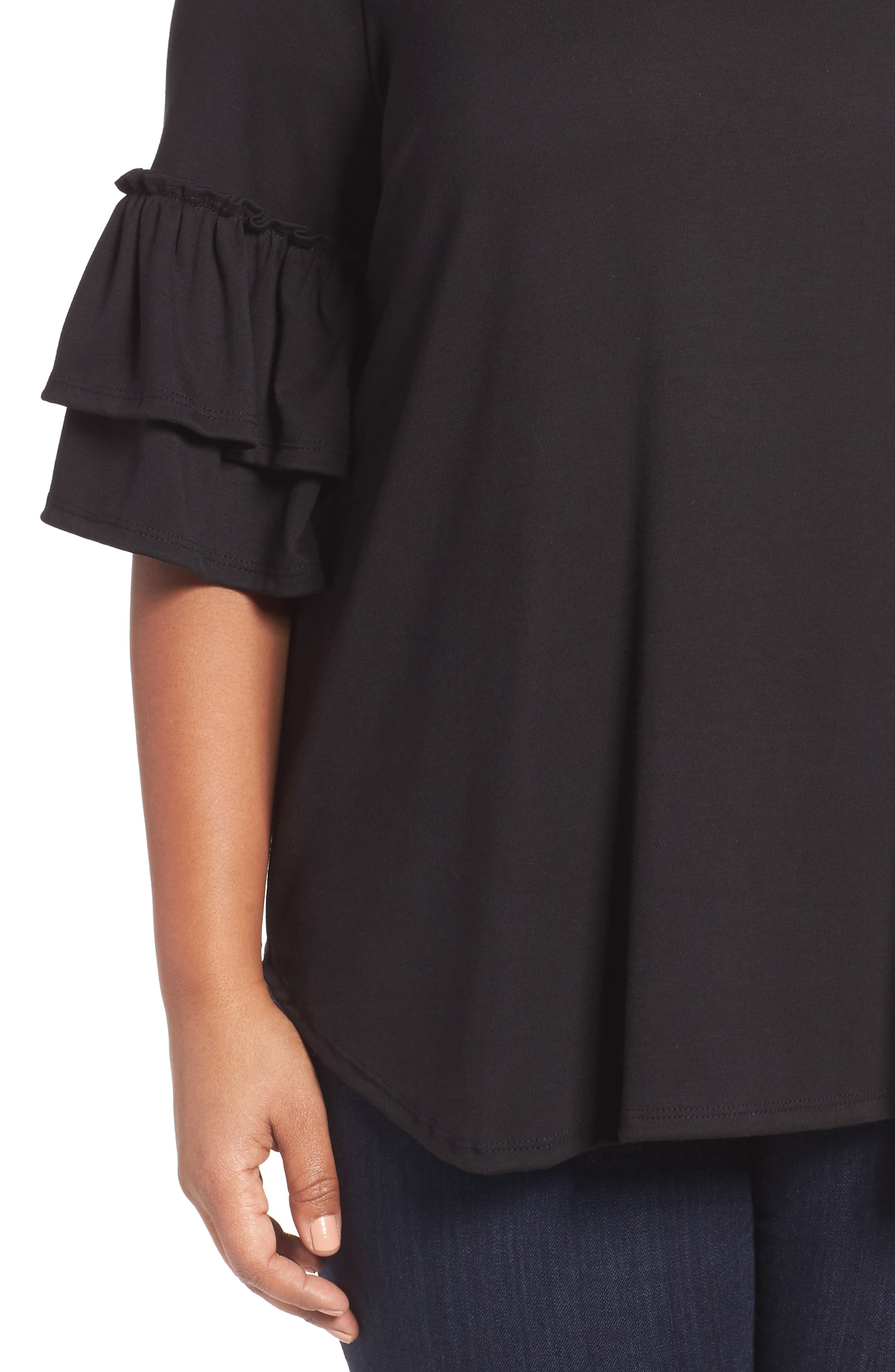 Double Ruffle Sleeve Top,                             Alternate thumbnail 7, color,