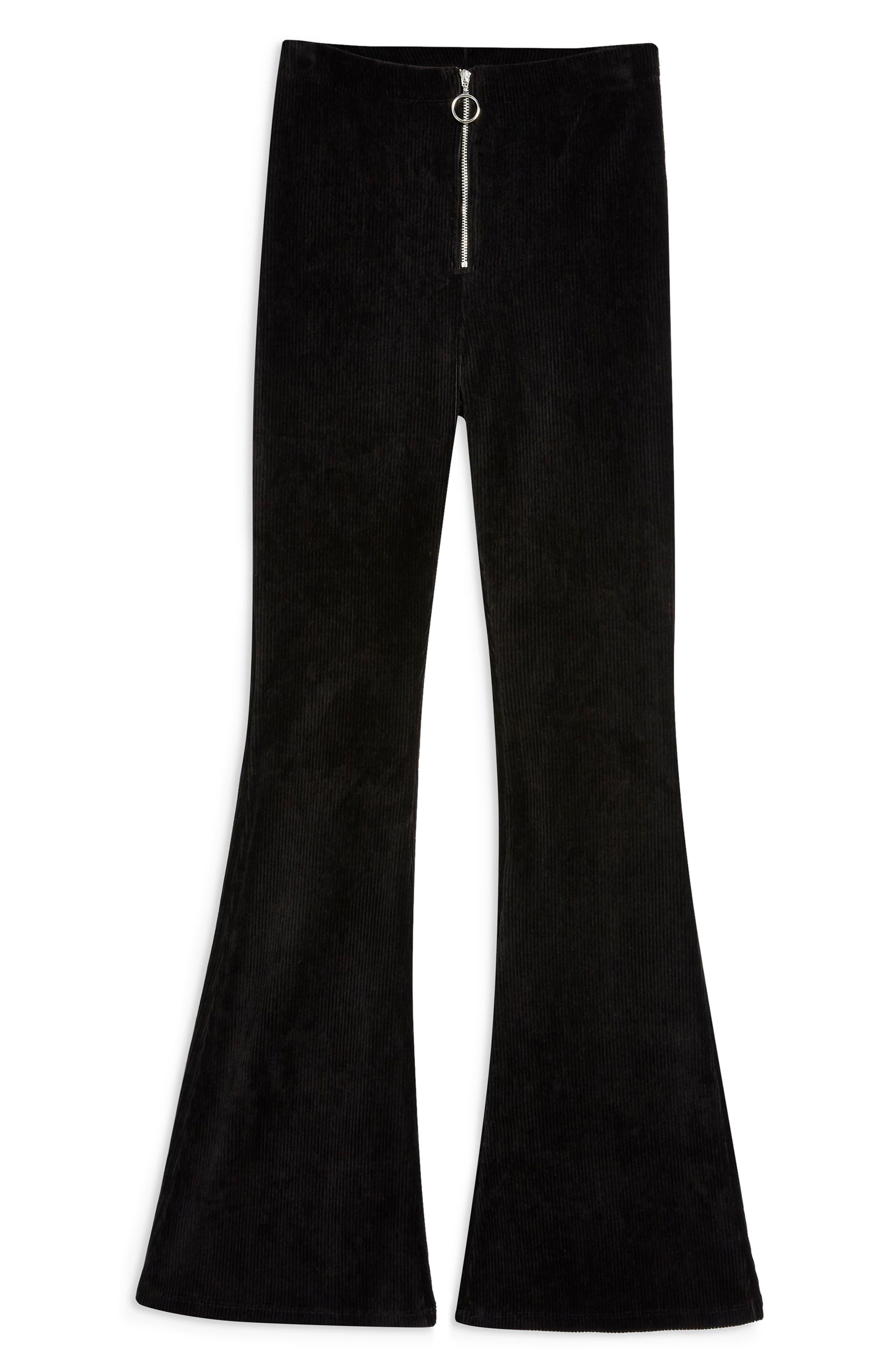 Zip Flare Corduroy Pants,                             Alternate thumbnail 3, color,                             BLACK