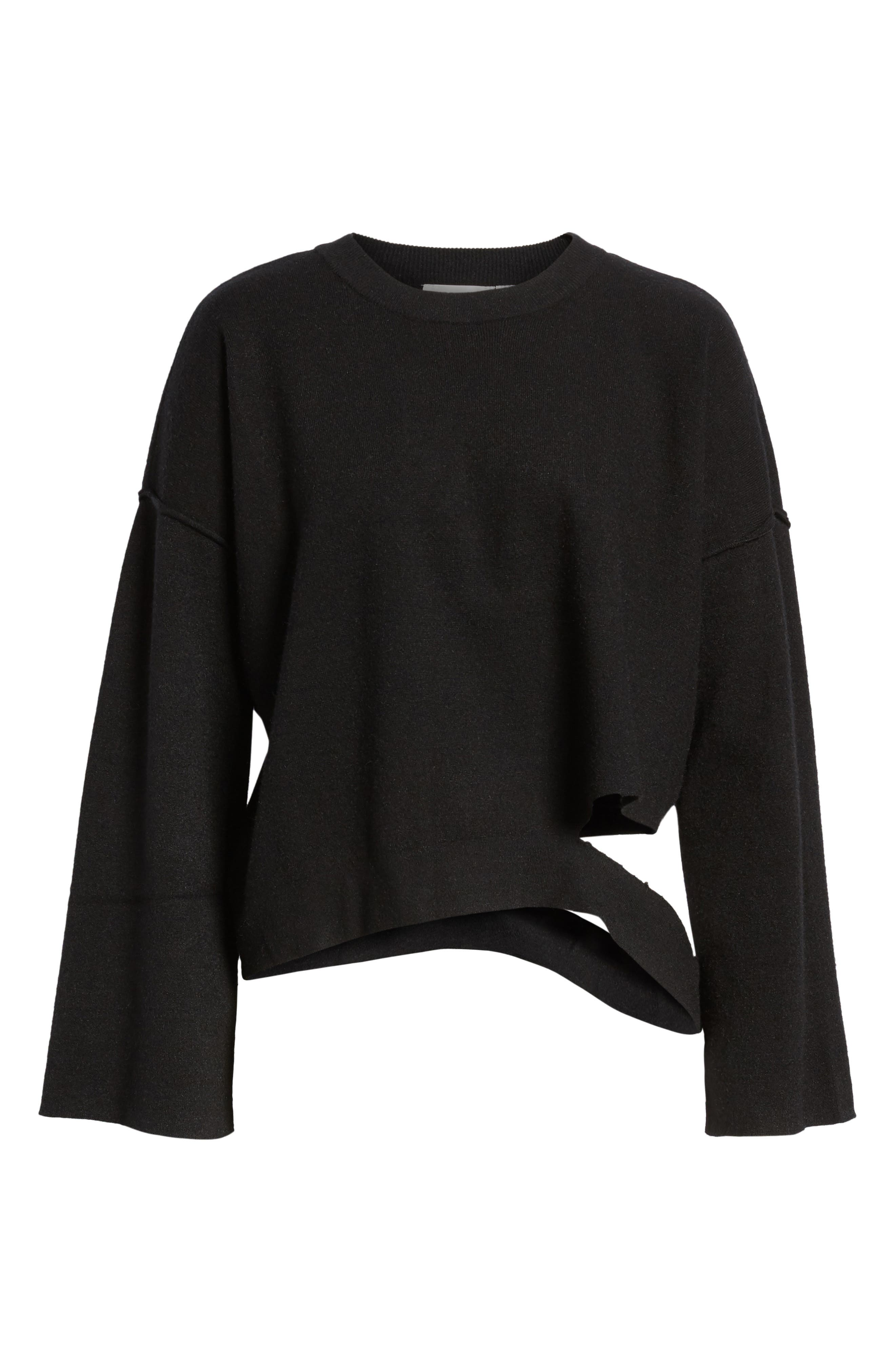 Bottom Cutout Pullover,                             Alternate thumbnail 6, color,                             001