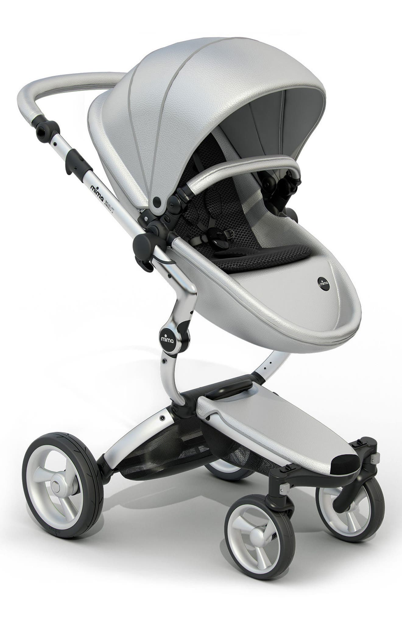 Xari Aluminum Chassis Stroller with Reversible Reclining Seat & Carrycot,                         Main,                         color, ARGENTO / BLACK