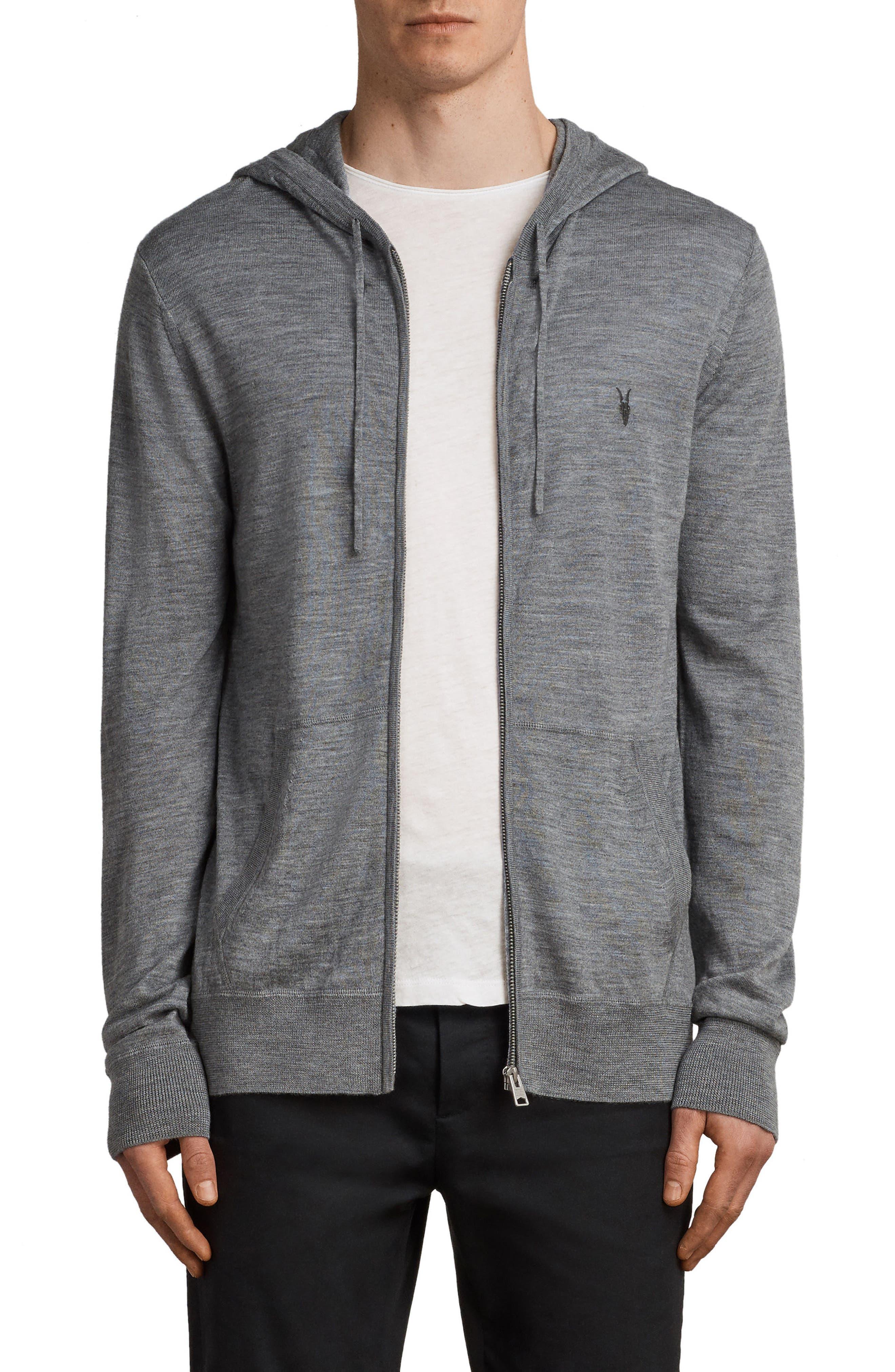 Allsaints Mode Slim Fit Merino Wool Zip Hoodie, Grey
