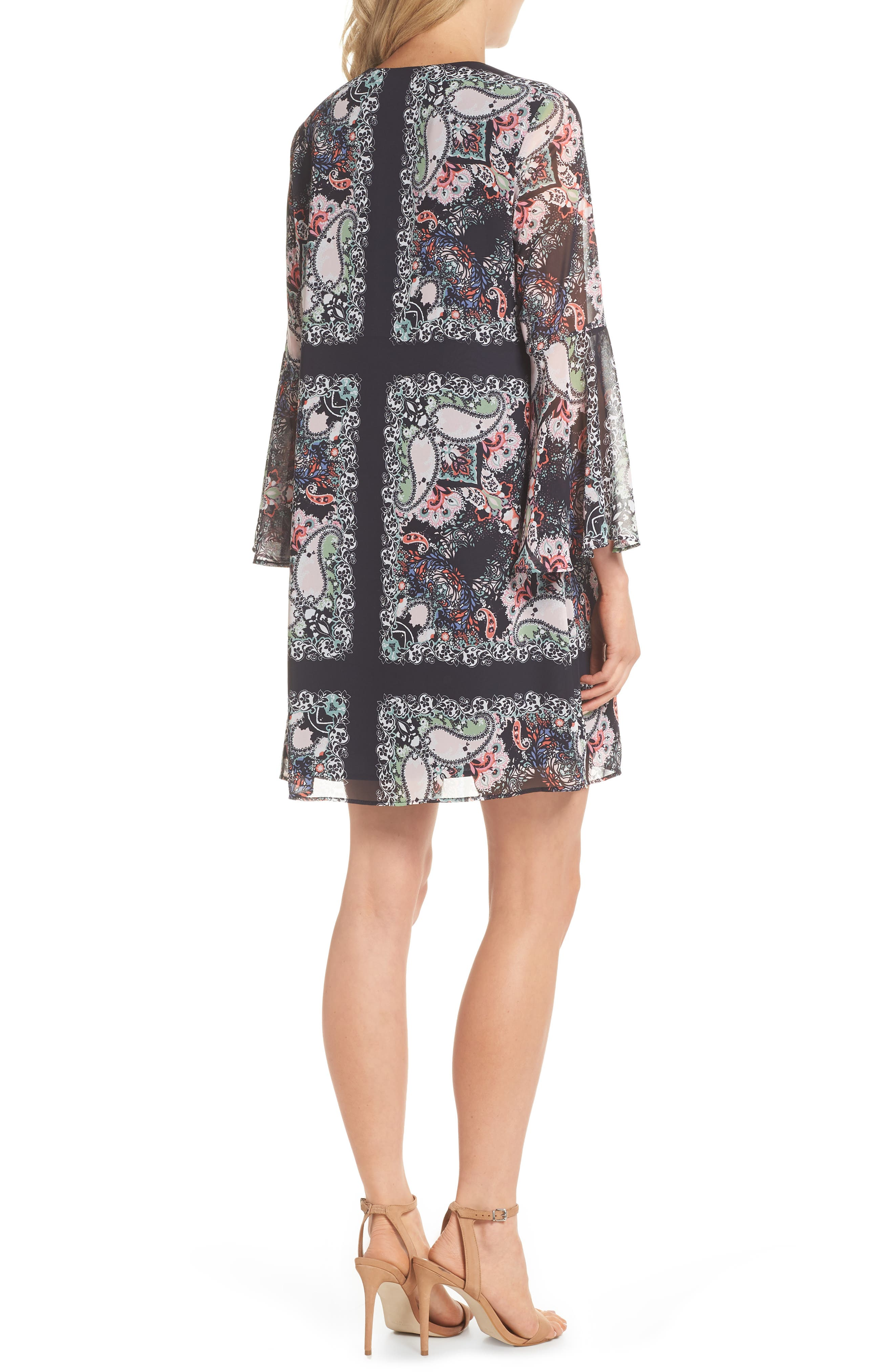 Bell Sleeve Floral Chiffon Shift Dress,                             Alternate thumbnail 2, color,                             490