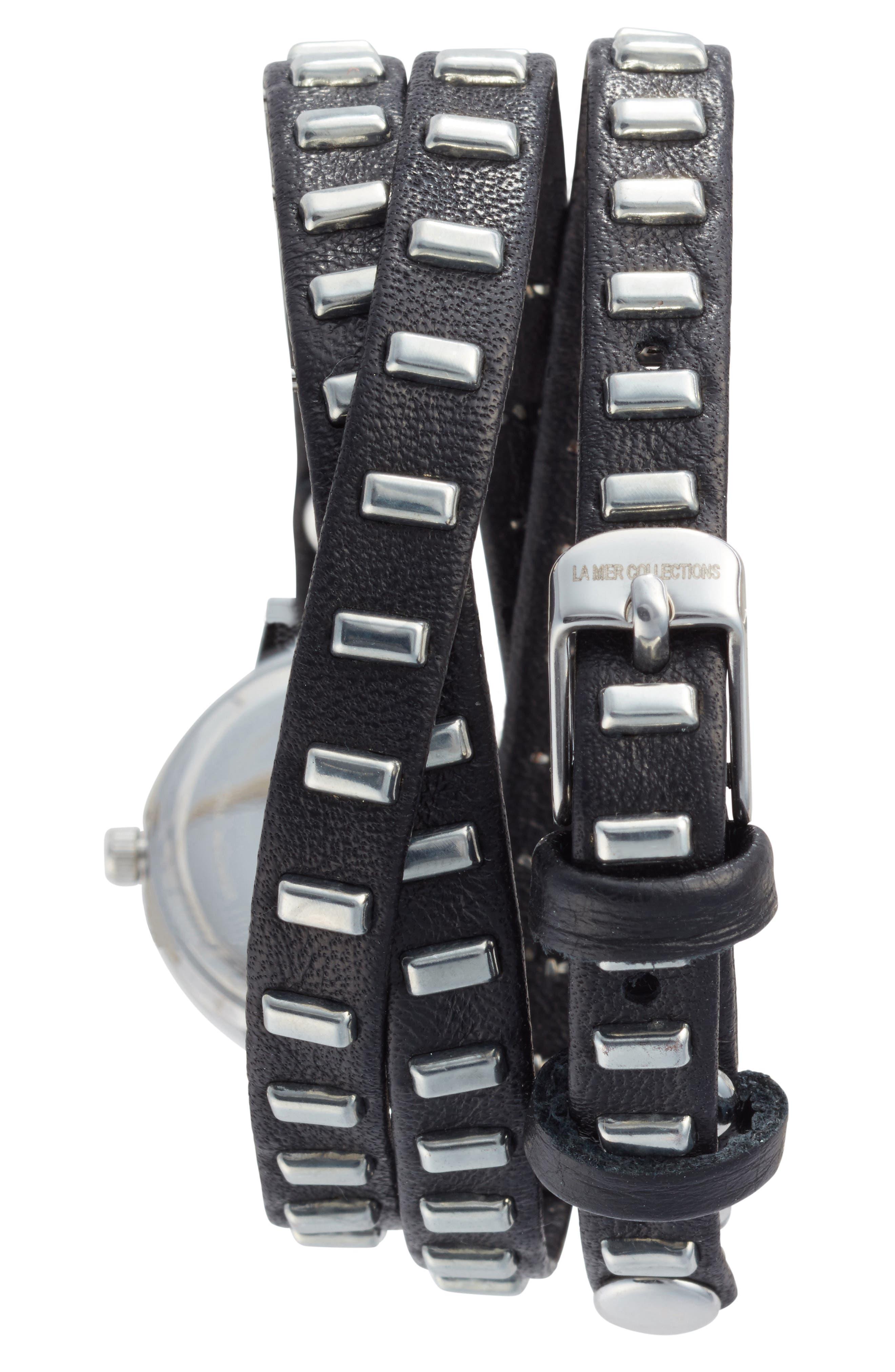 Baguette Stud Leather Wrap Strap Watch, 35mm,                             Alternate thumbnail 4, color,