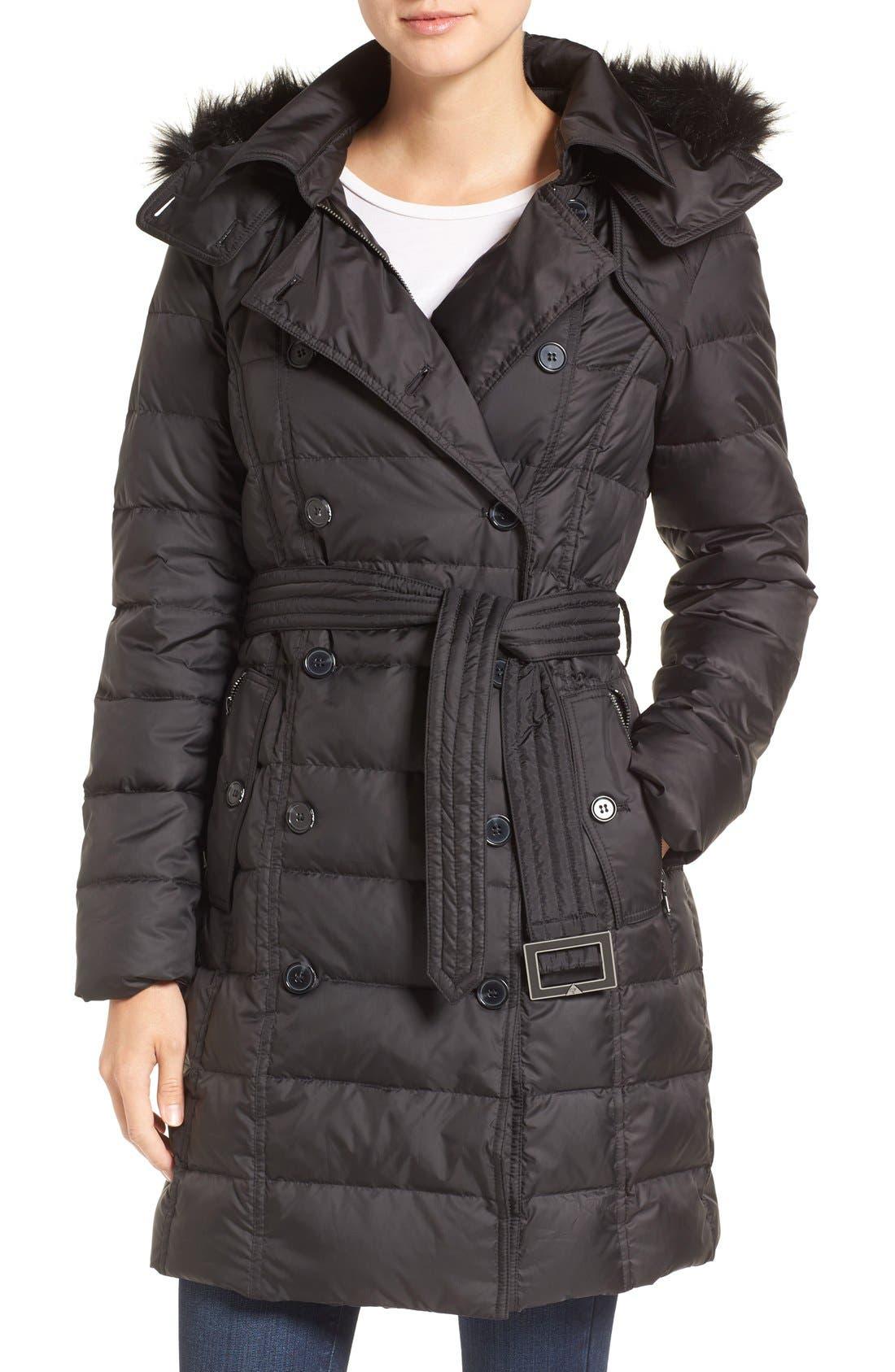 Faux Fur Trim Down Coat, Main, color, 001