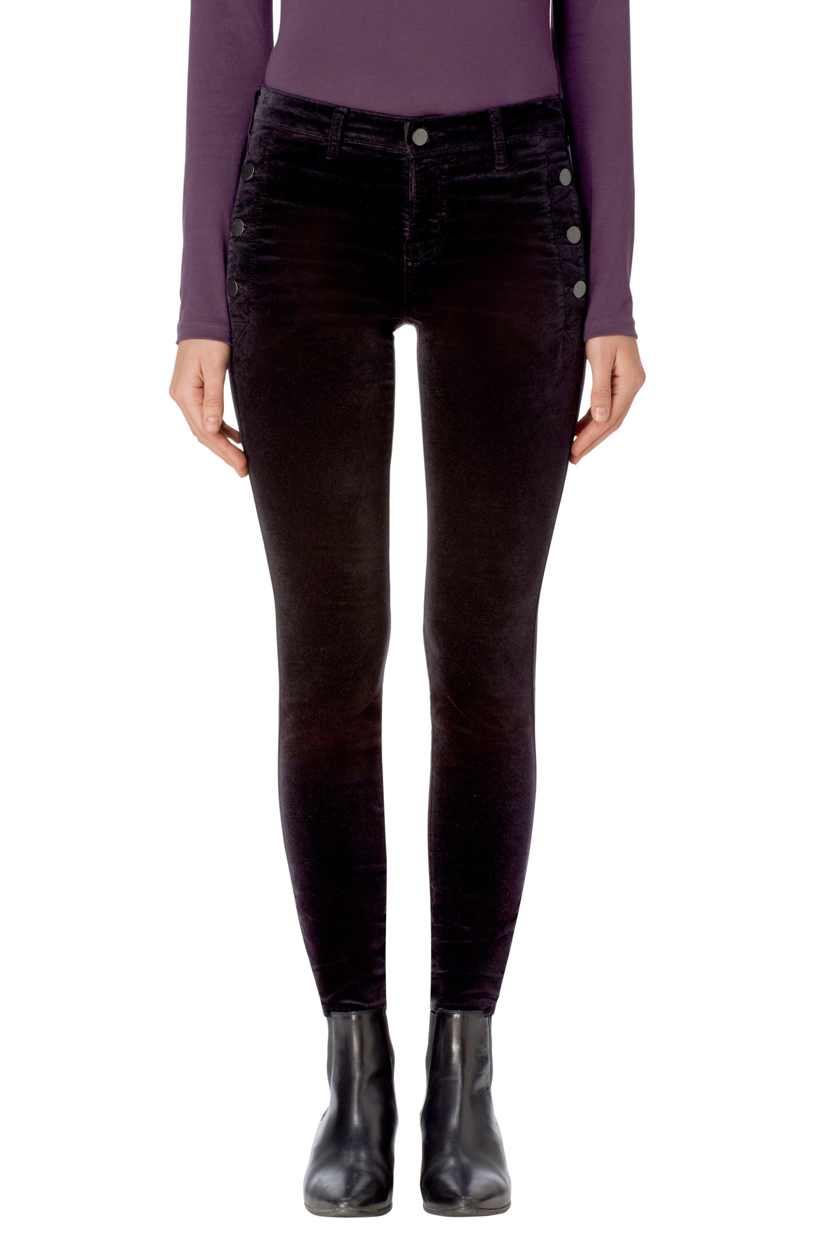 Zion Mid Rise Velvet Skinny Jeans,                             Main thumbnail 1, color,                             001