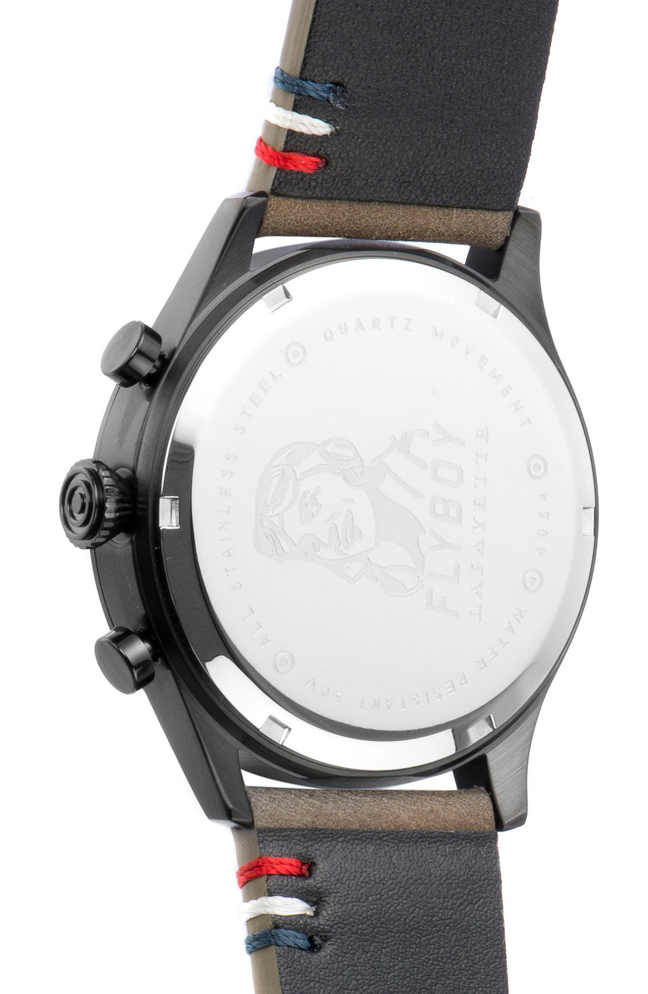 Flyboy Lafayette Chronograph Leather Strap Watch, 42mm,                             Alternate thumbnail 4, color,                             250