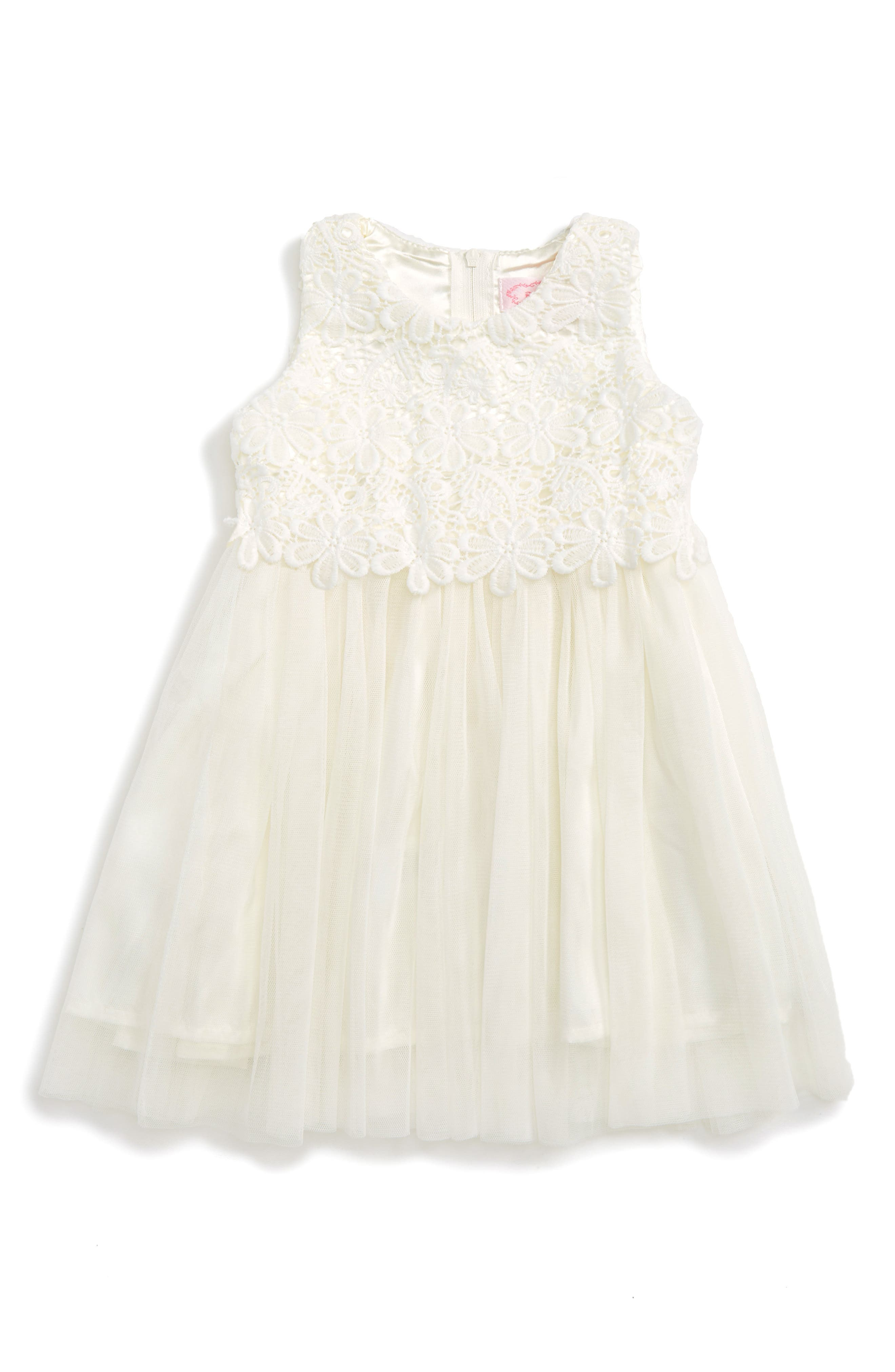 Lace & Tulle Dress,                             Alternate thumbnail 2, color,                             WHITE