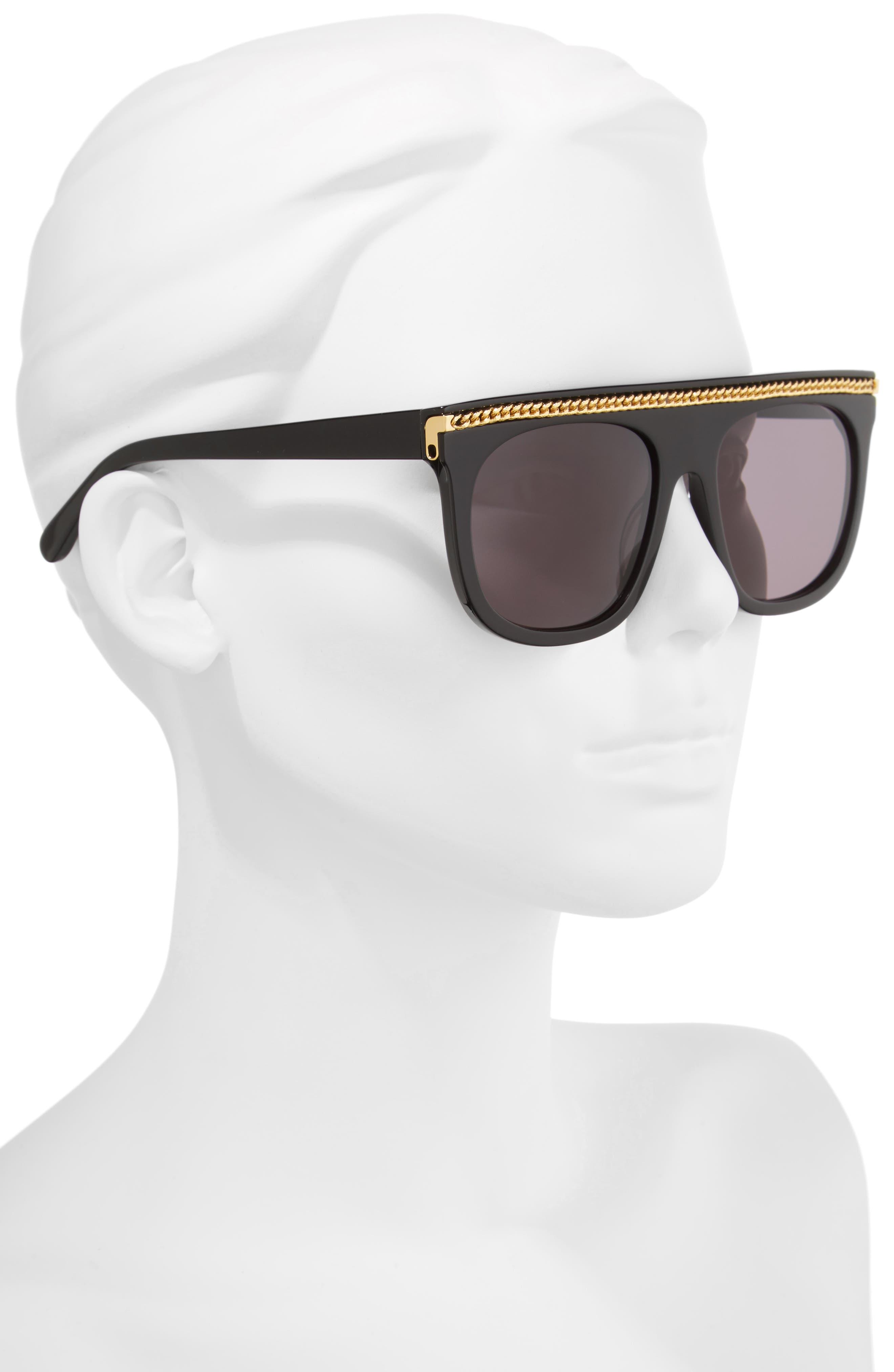 55mm Flat Top Sunglasses,                             Alternate thumbnail 2, color,                             001