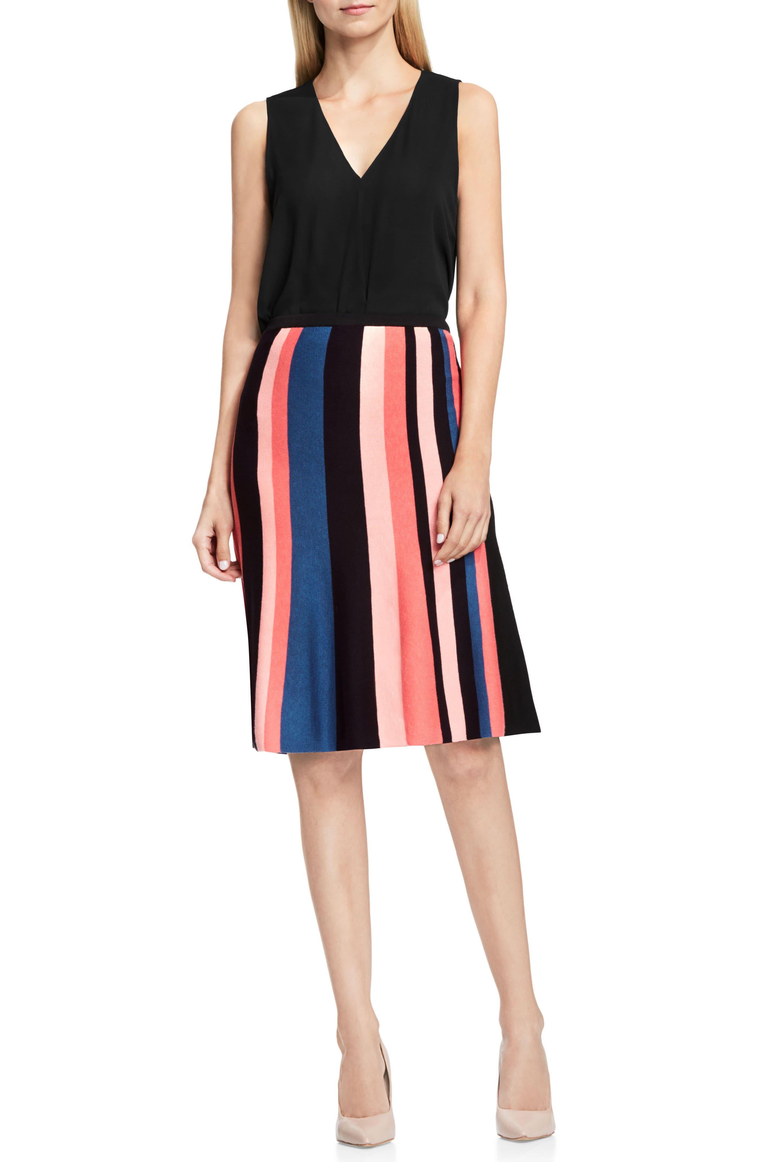 Multistripe Flare Skirt,                             Alternate thumbnail 3, color,                             006