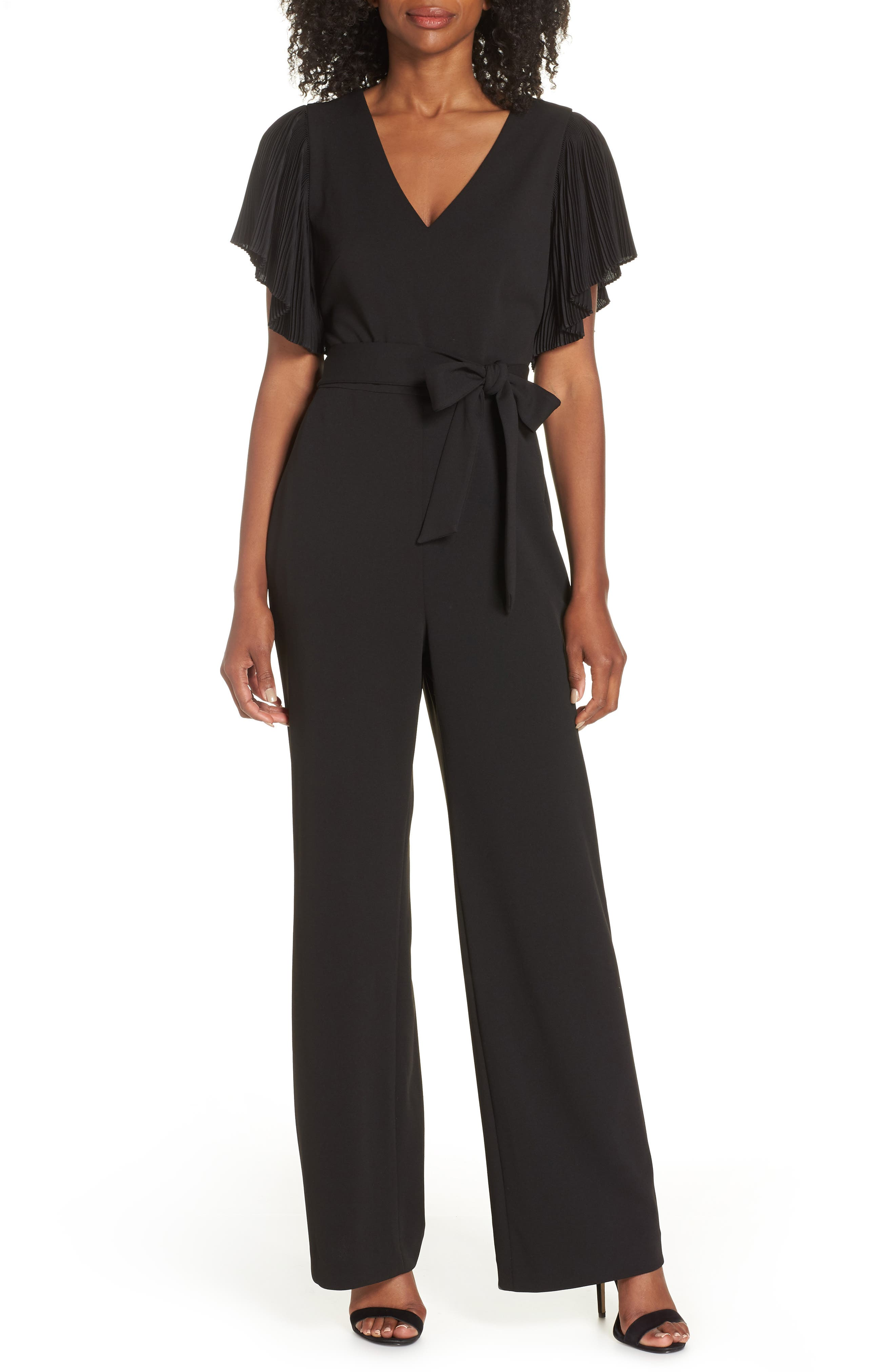 Pleat Sleeve Jumpsuit,                         Main,                         color, BLACK