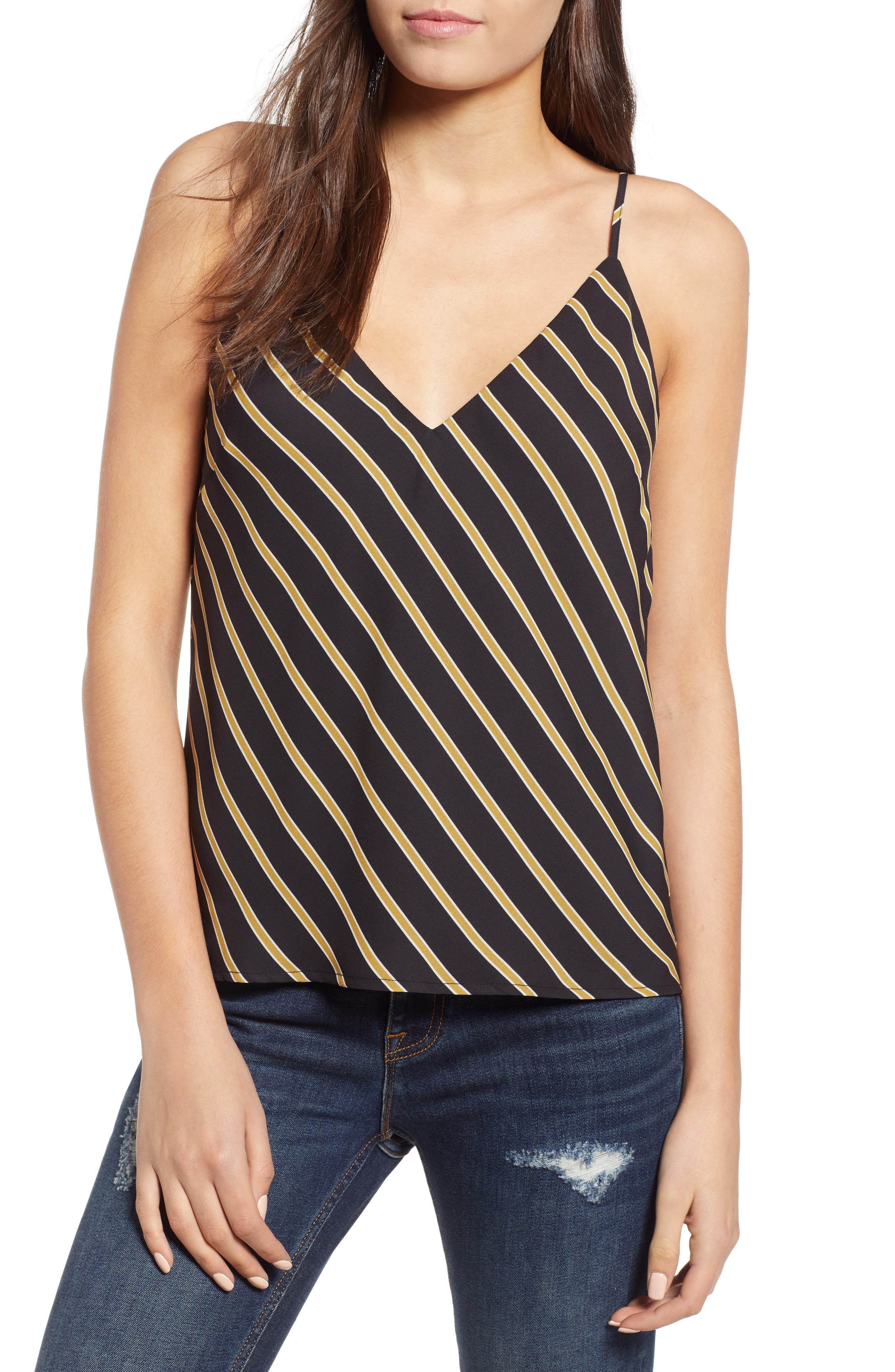 Stripe Camisole,                             Main thumbnail 1, color,                             BLACK MUSTARD STRIPE