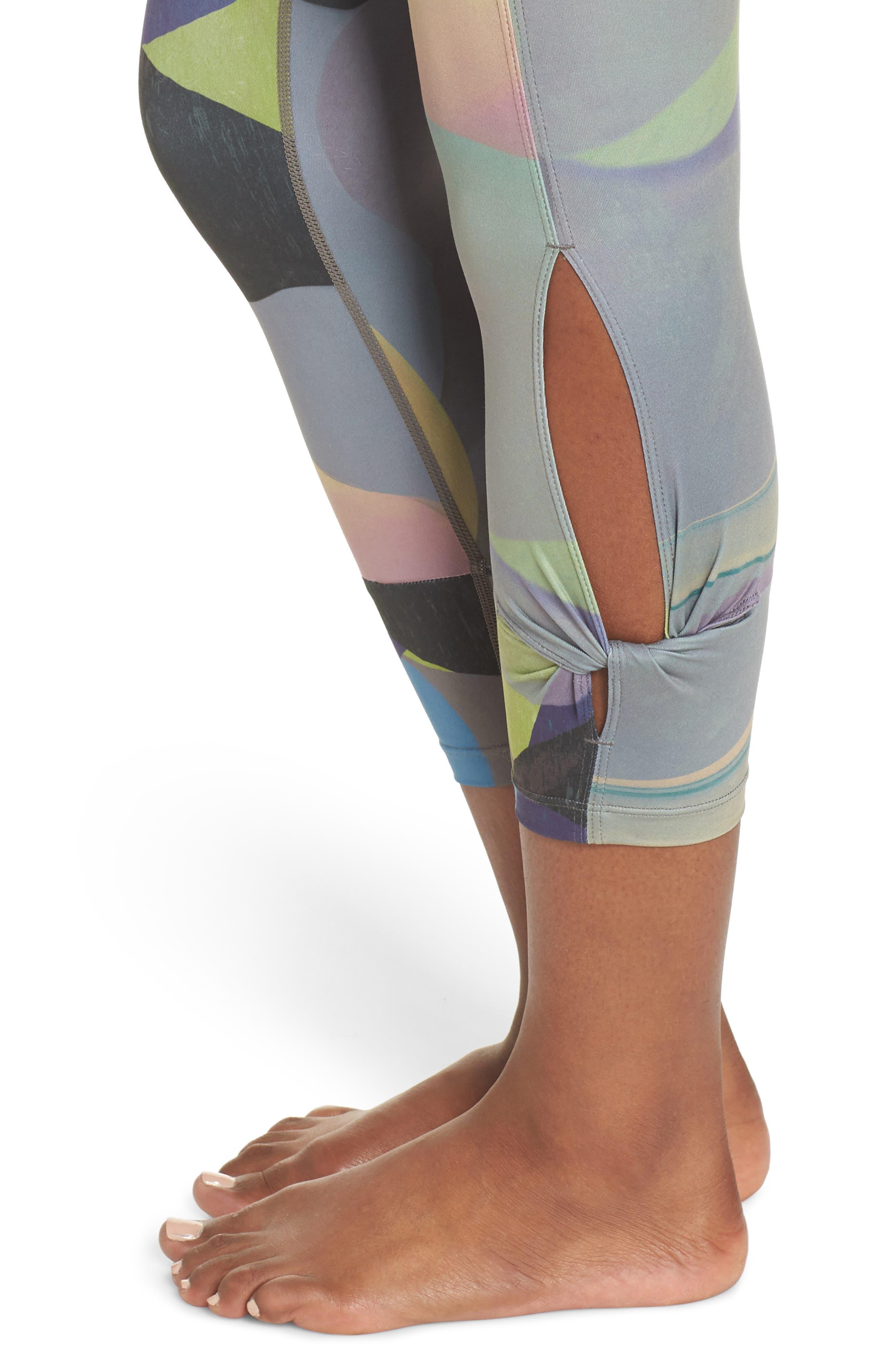 Katya High Waist Abstract Print Recycled Crop Leggings,                             Alternate thumbnail 4, color,                             GREY URBAN ABSTRACT BOTANICAL
