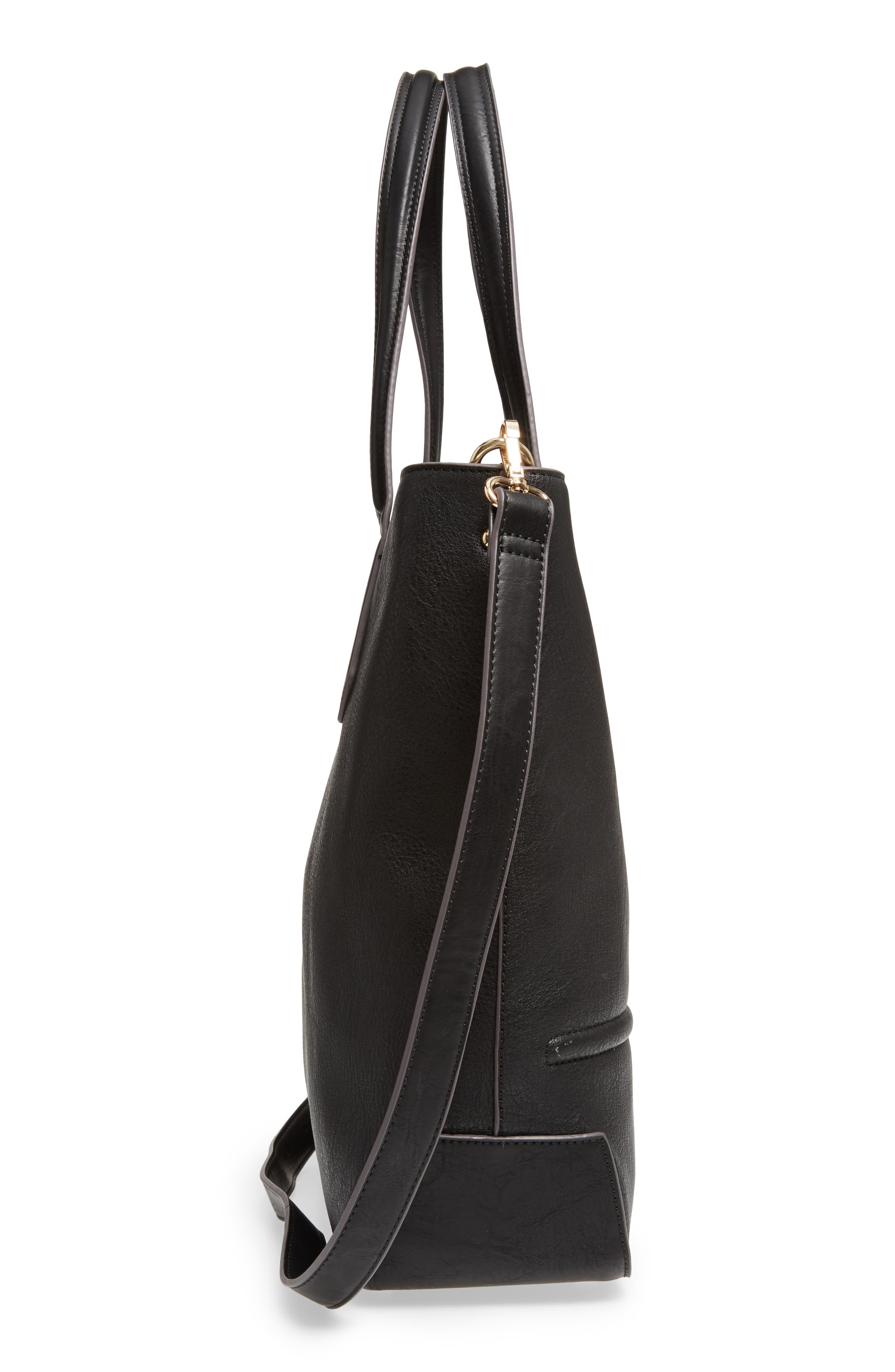 Faux Leather Tote,                             Alternate thumbnail 5, color,                             001