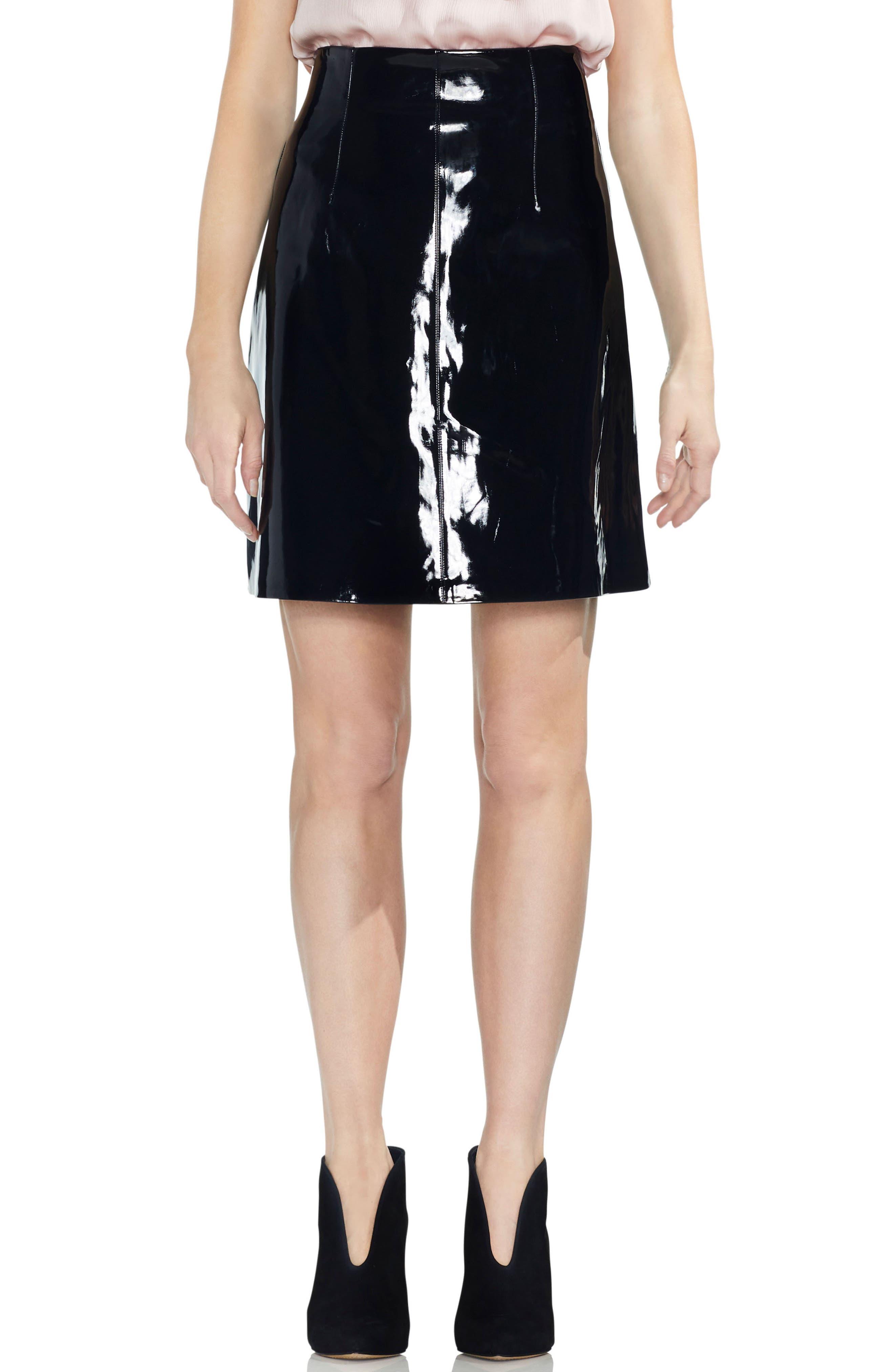 Faux Patent Leather Skirt,                         Main,                         color, RICH BLACK