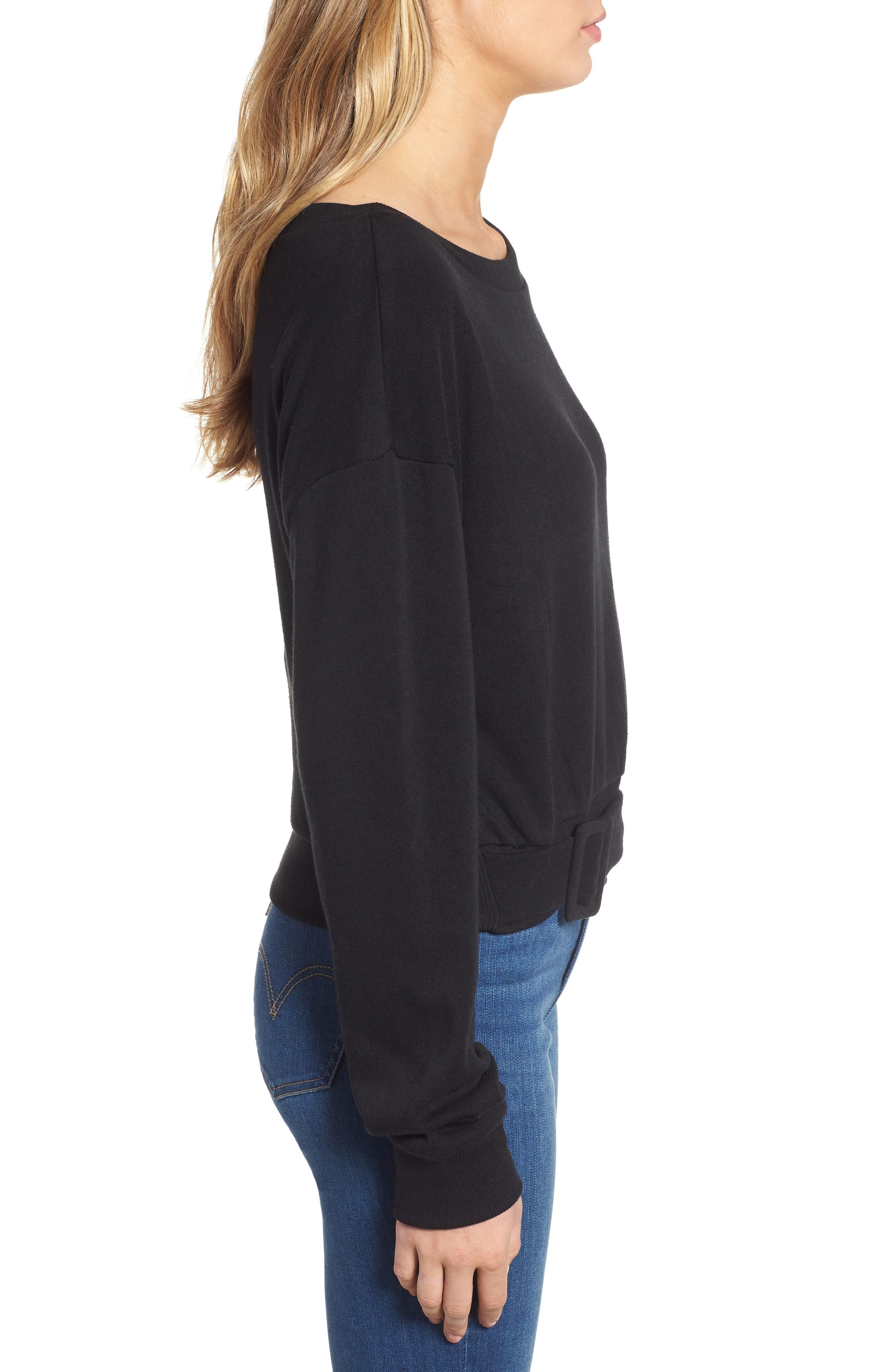 Belted Fleece Sweatshirt,                             Alternate thumbnail 3, color,                             BLACK