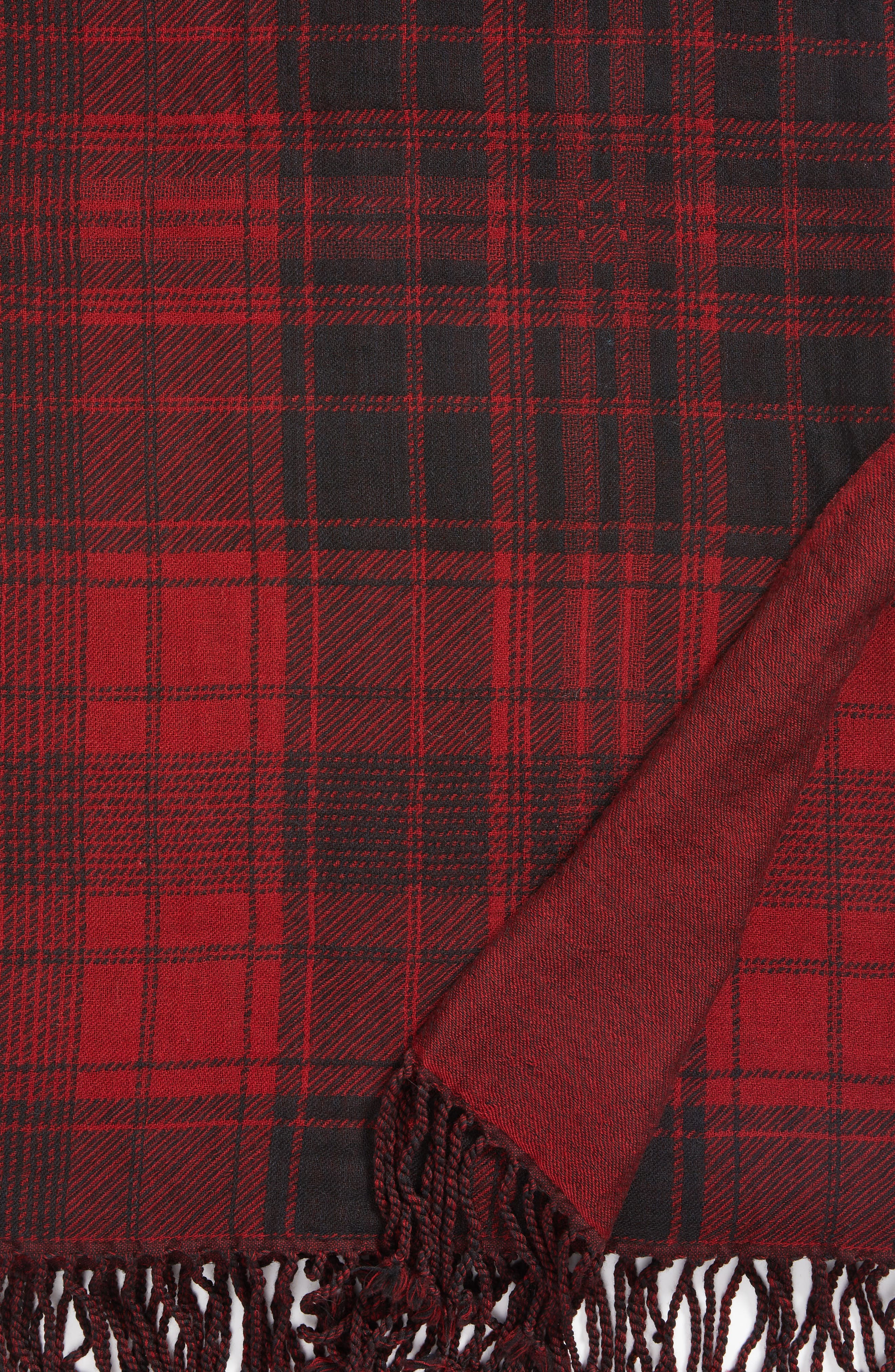 Plaid Double Face Merino Wool Throw,                             Alternate thumbnail 2, color,                             RED BLACK BLANKET PLAID