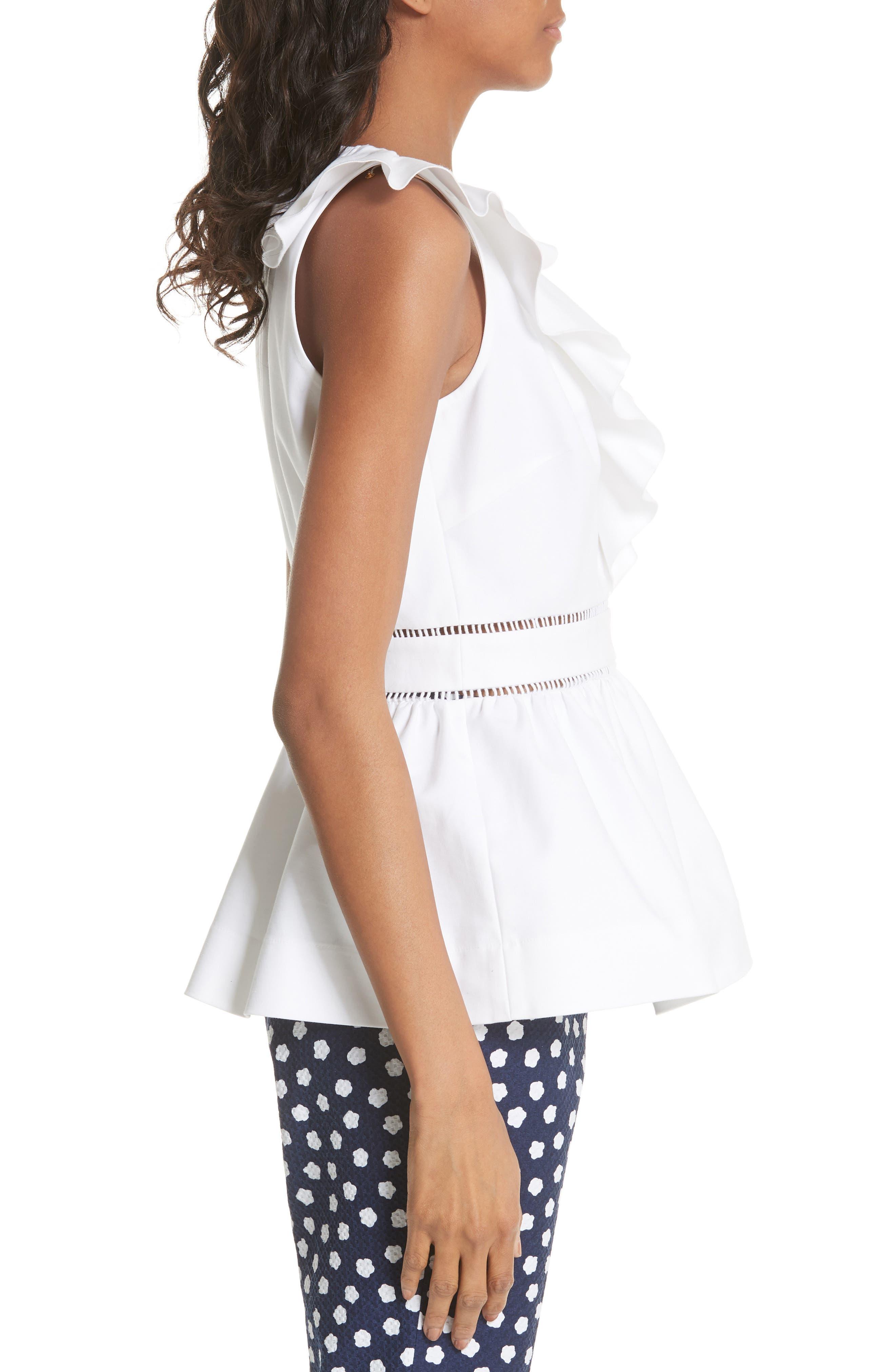 ruffle neck stretch cotton peplum blouse,                             Alternate thumbnail 6, color,