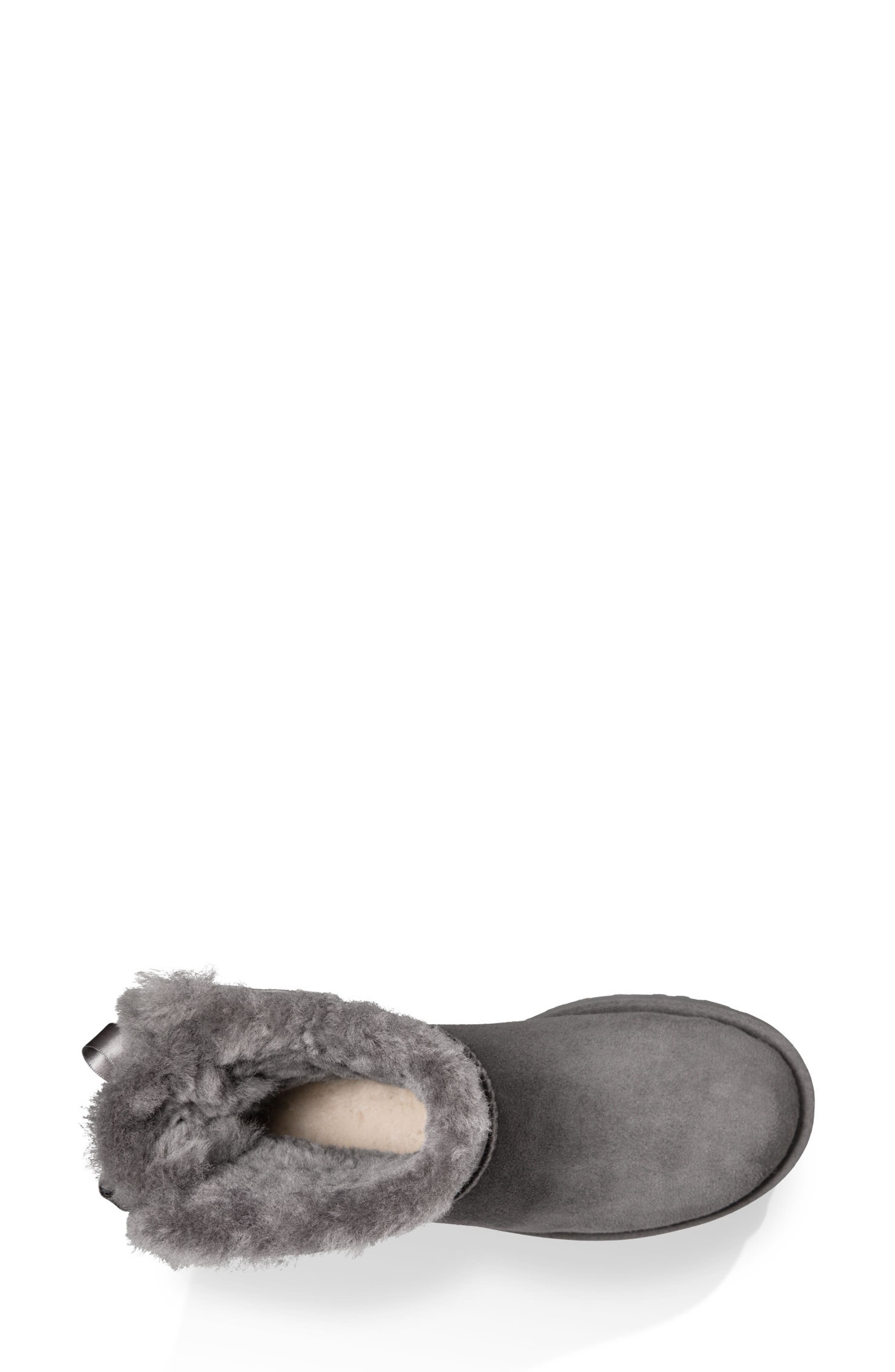 Mini Bailey Bow II Genuine Shearling Bootie,                             Alternate thumbnail 4, color,                             GREY SUEDE
