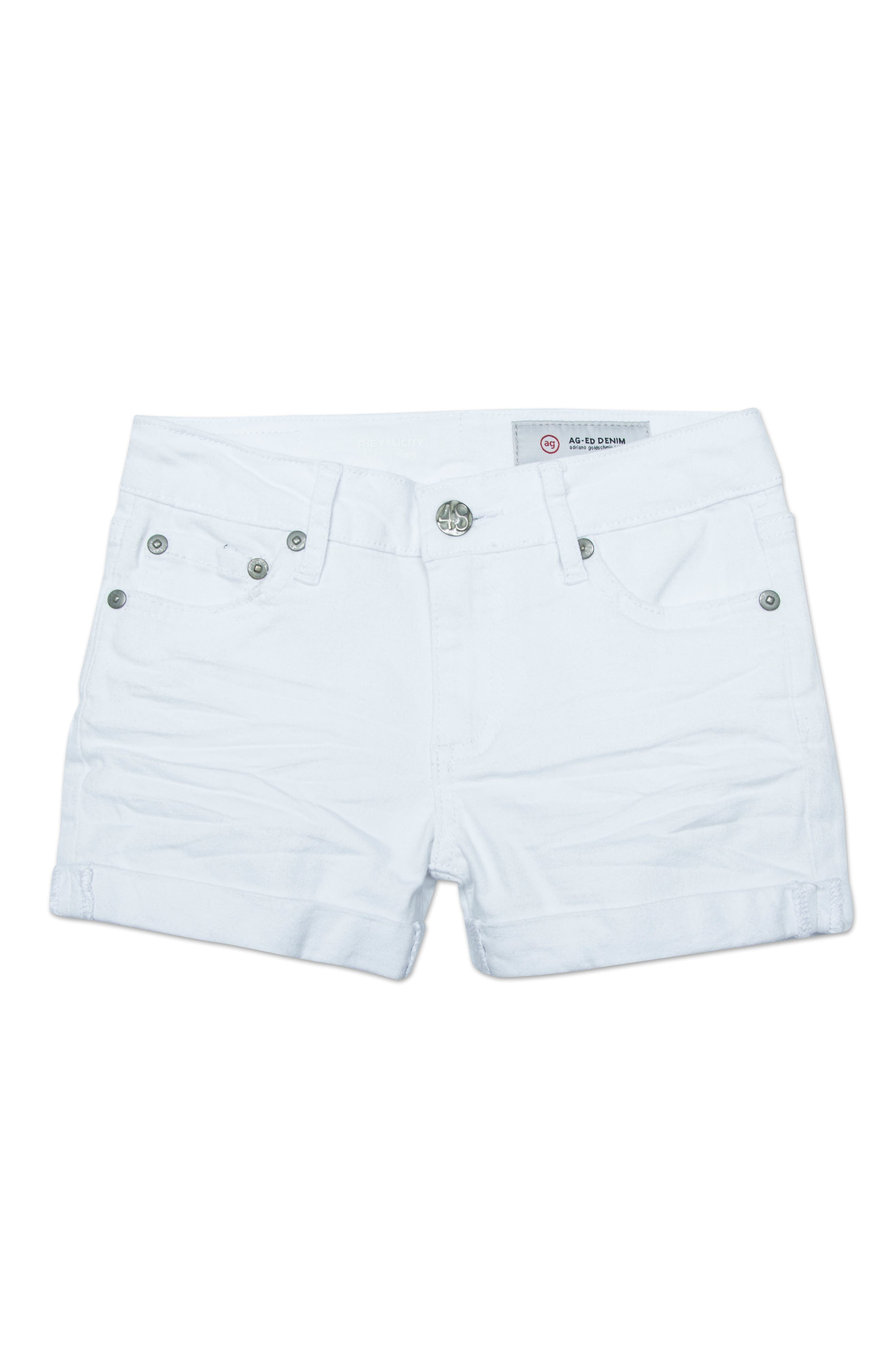 The Heather Roll Cuff Shorts,                             Main thumbnail 1, color,                             WHITE