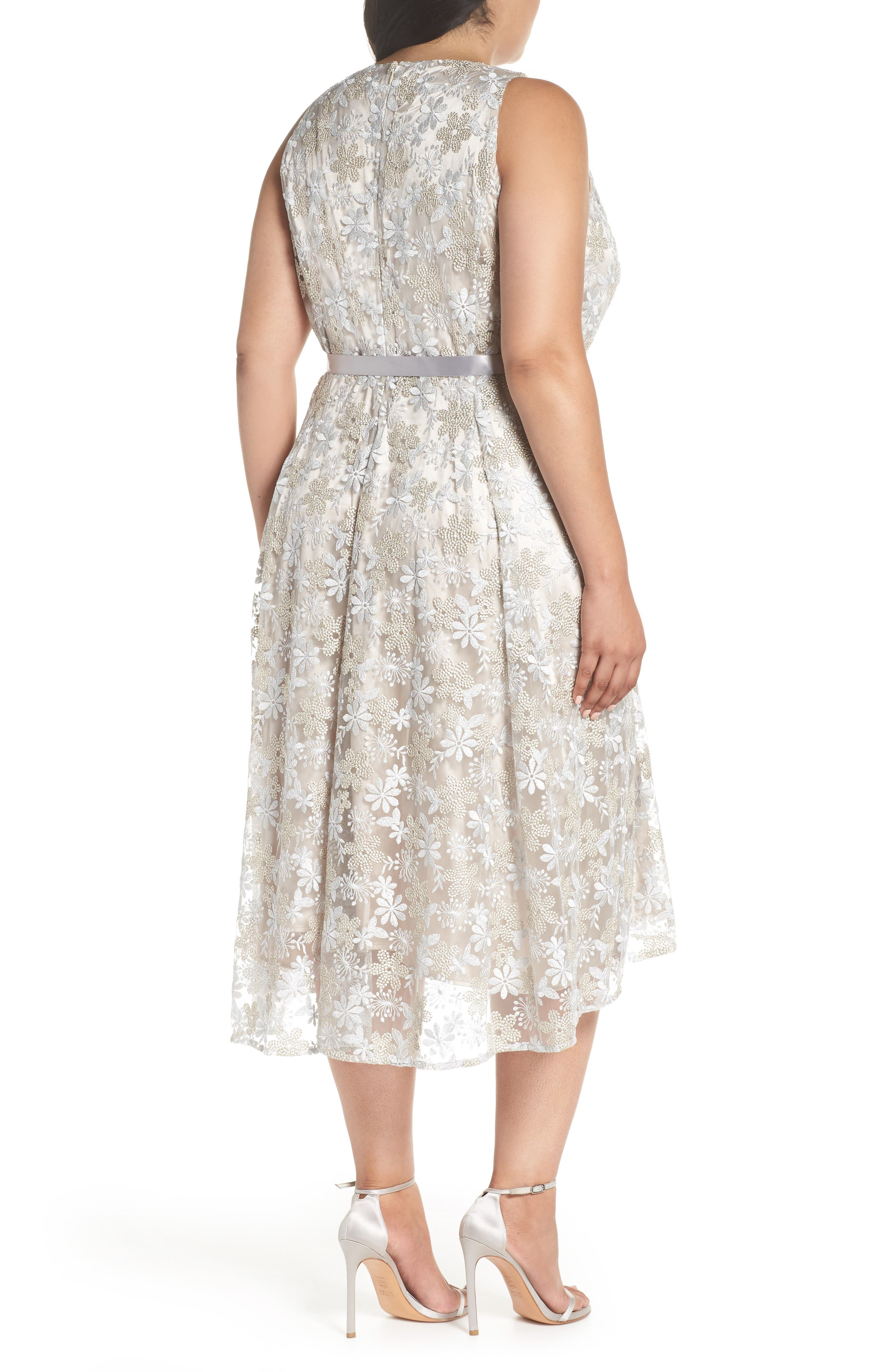 Sleeveless Embroidered Midi Dress,                             Alternate thumbnail 2, color,                             048