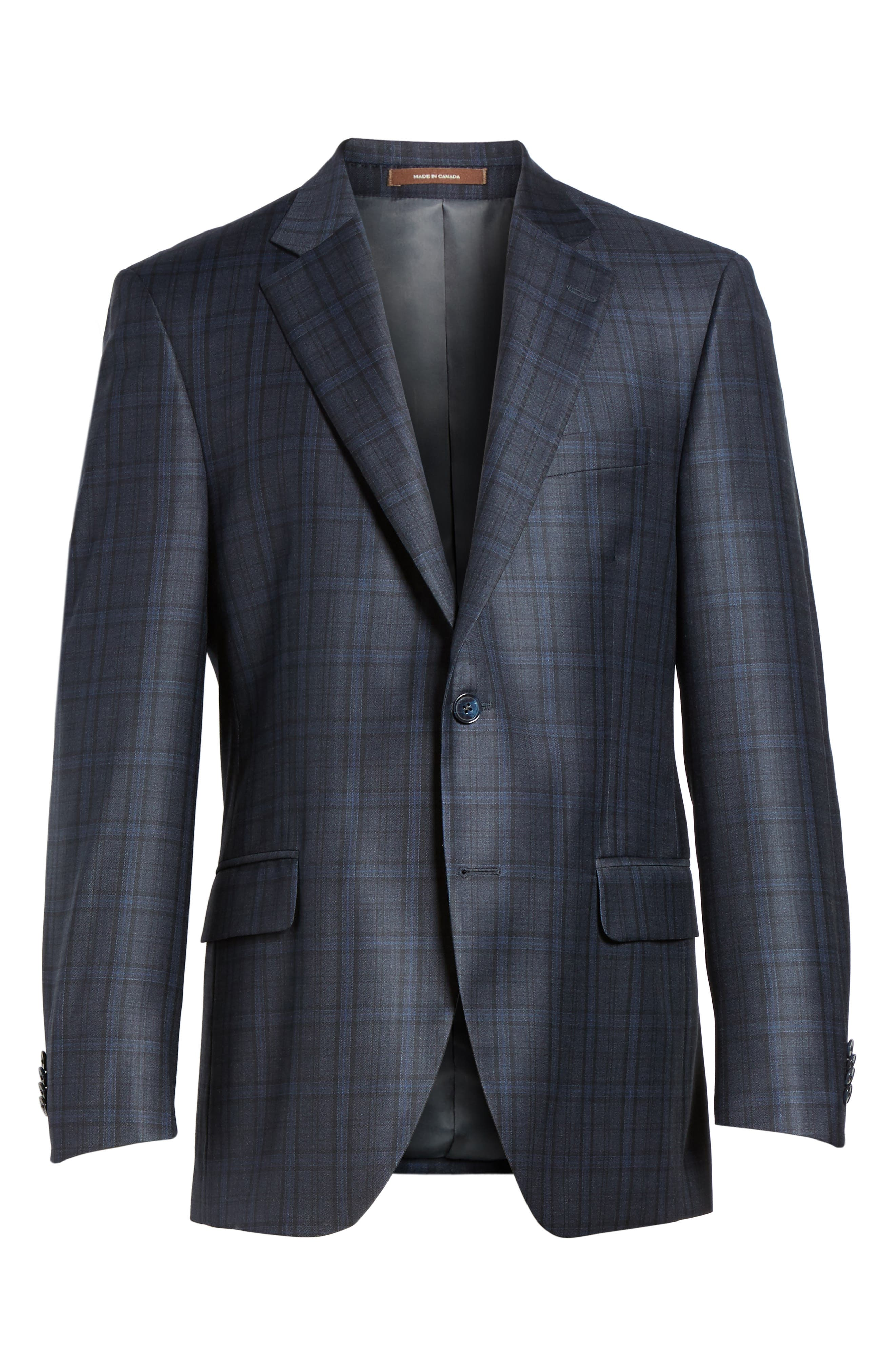 Classic Fit Plaid Wool Sport Coat,                             Alternate thumbnail 5, color,