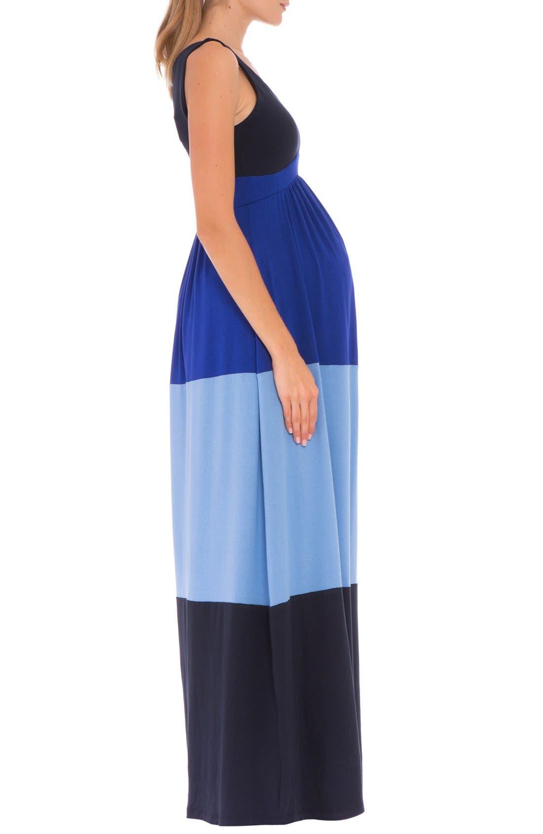 'Margarette' Colorblock Maternity Tank Dress,                             Alternate thumbnail 4, color,                             415