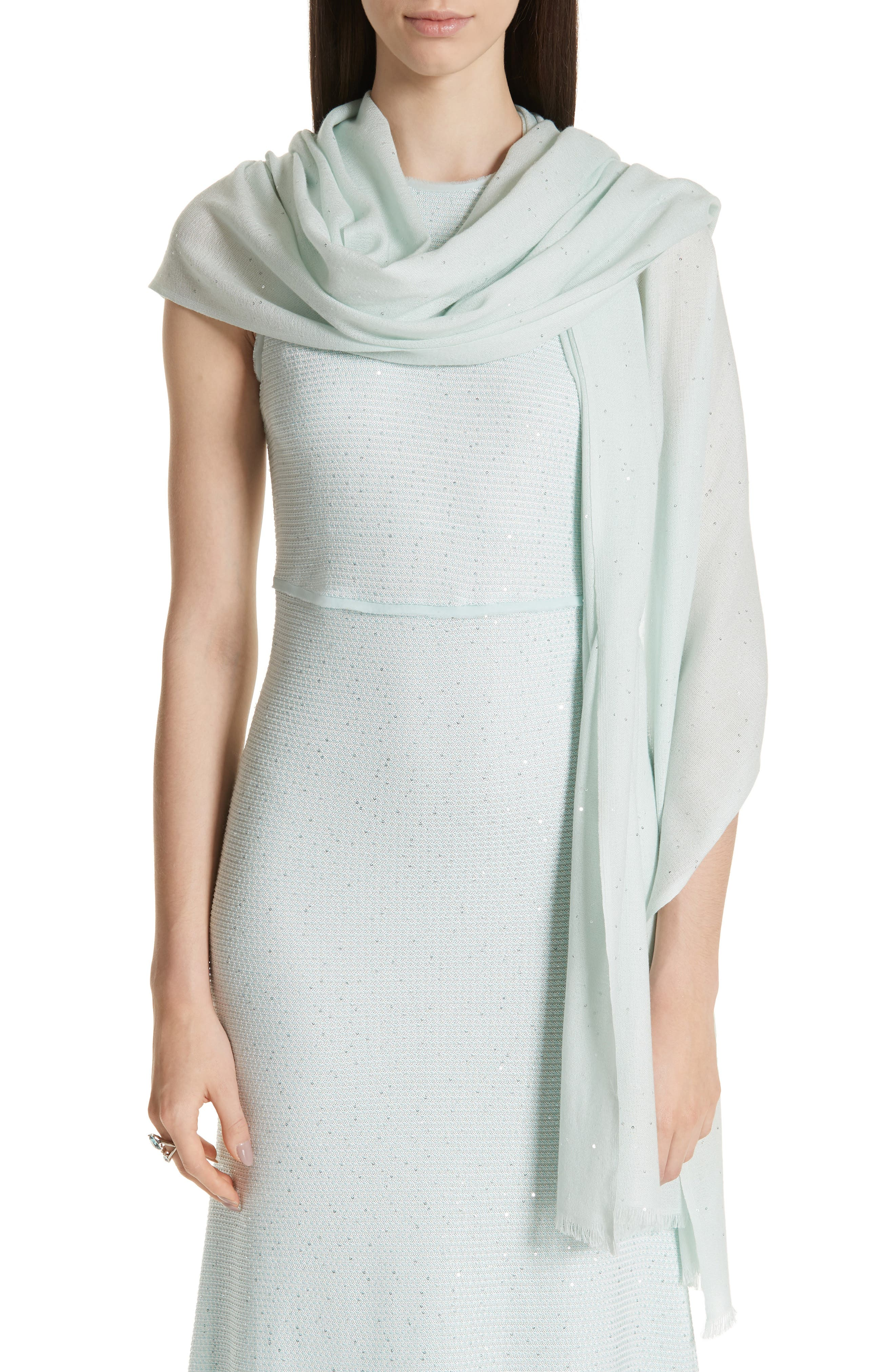 Sequin Silk & Wool Wrap, Main, color, PALE MINT