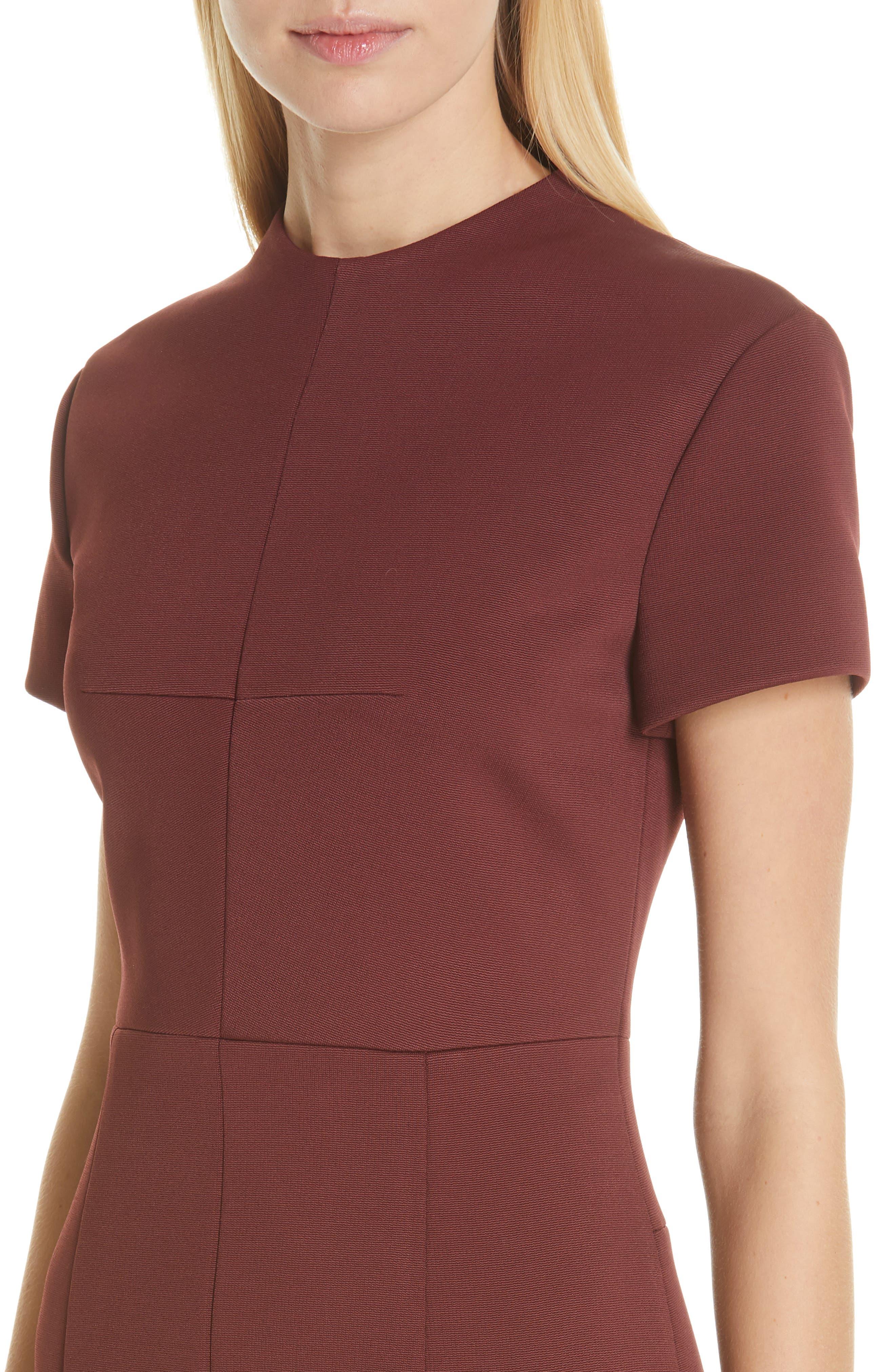 Demiara Sheath Dress,                             Alternate thumbnail 4, color,                             DARK AUBURN