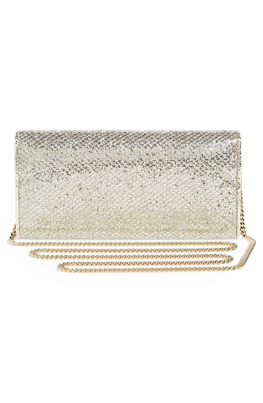 'Milla' Glitter Wallet on a Chain,                             Alternate thumbnail 8, color,                             CHAMPAGNE