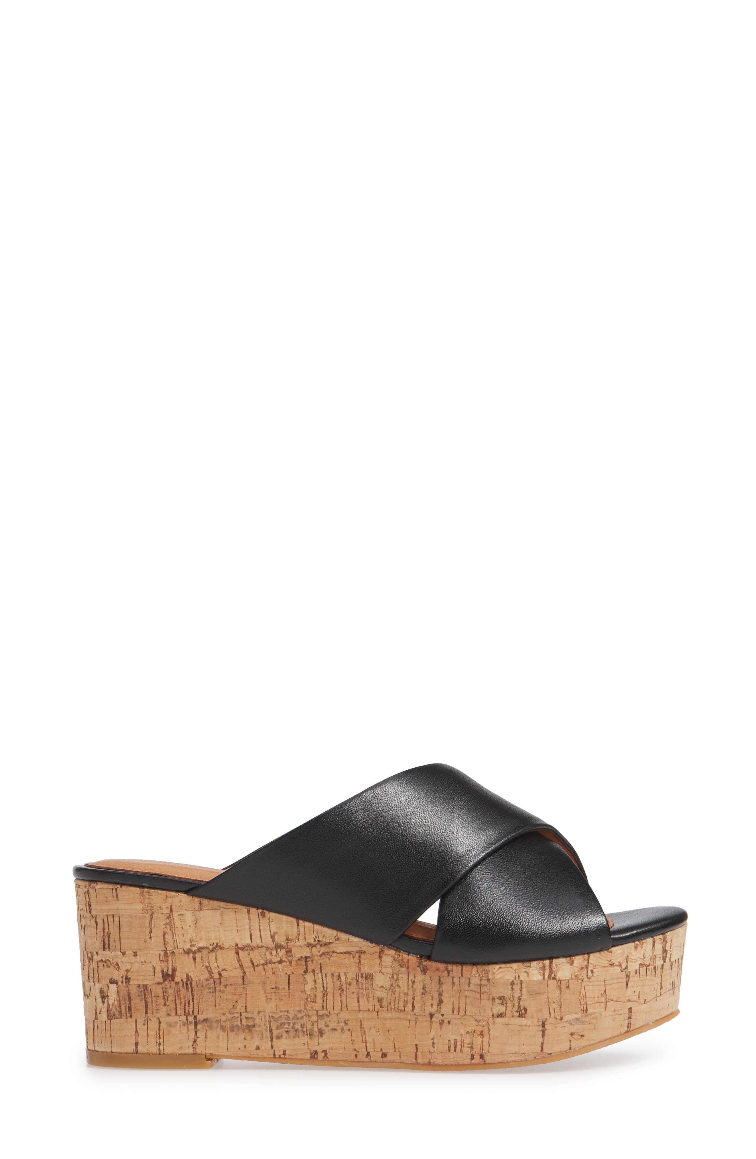 Elena Platform Wedge Sandal,                             Alternate thumbnail 3, color,                             BLACK LEATHER