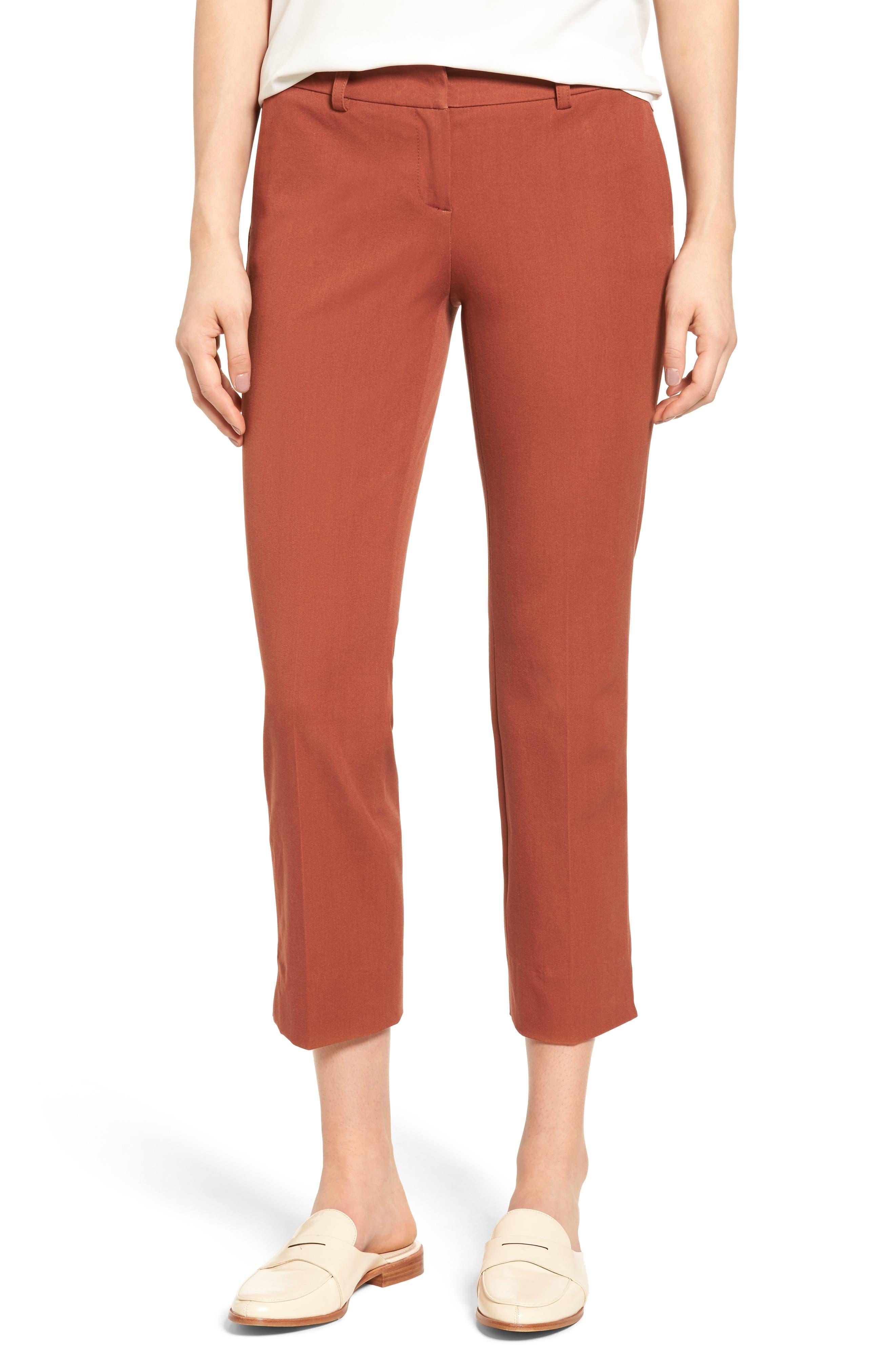 Crop Stretch Cotton Pants,                             Main thumbnail 10, color,