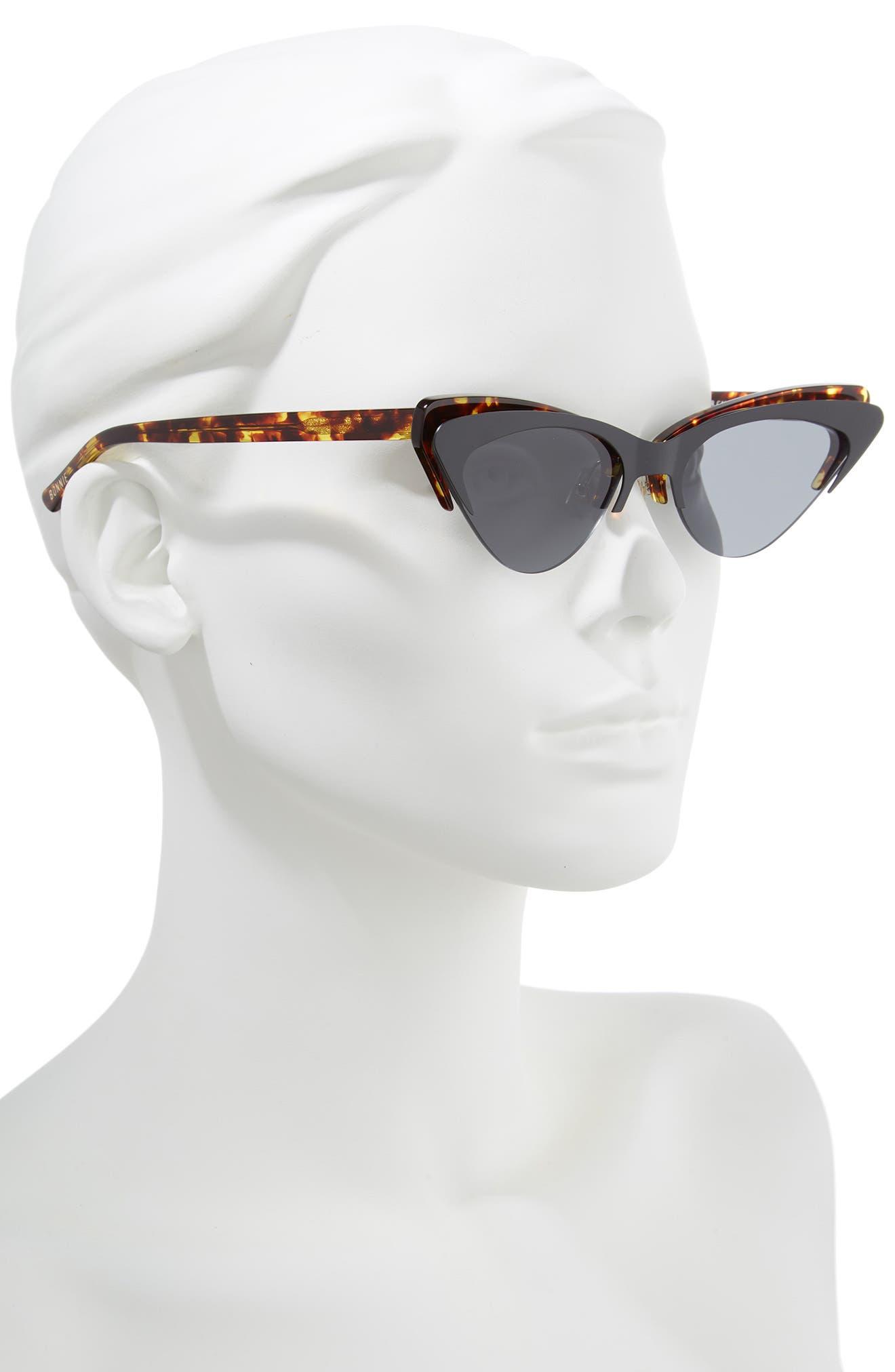 Layer Cake 55mm Cat Eye Sunglasses,                             Alternate thumbnail 2, color,                             TORTOISE/ BLACK
