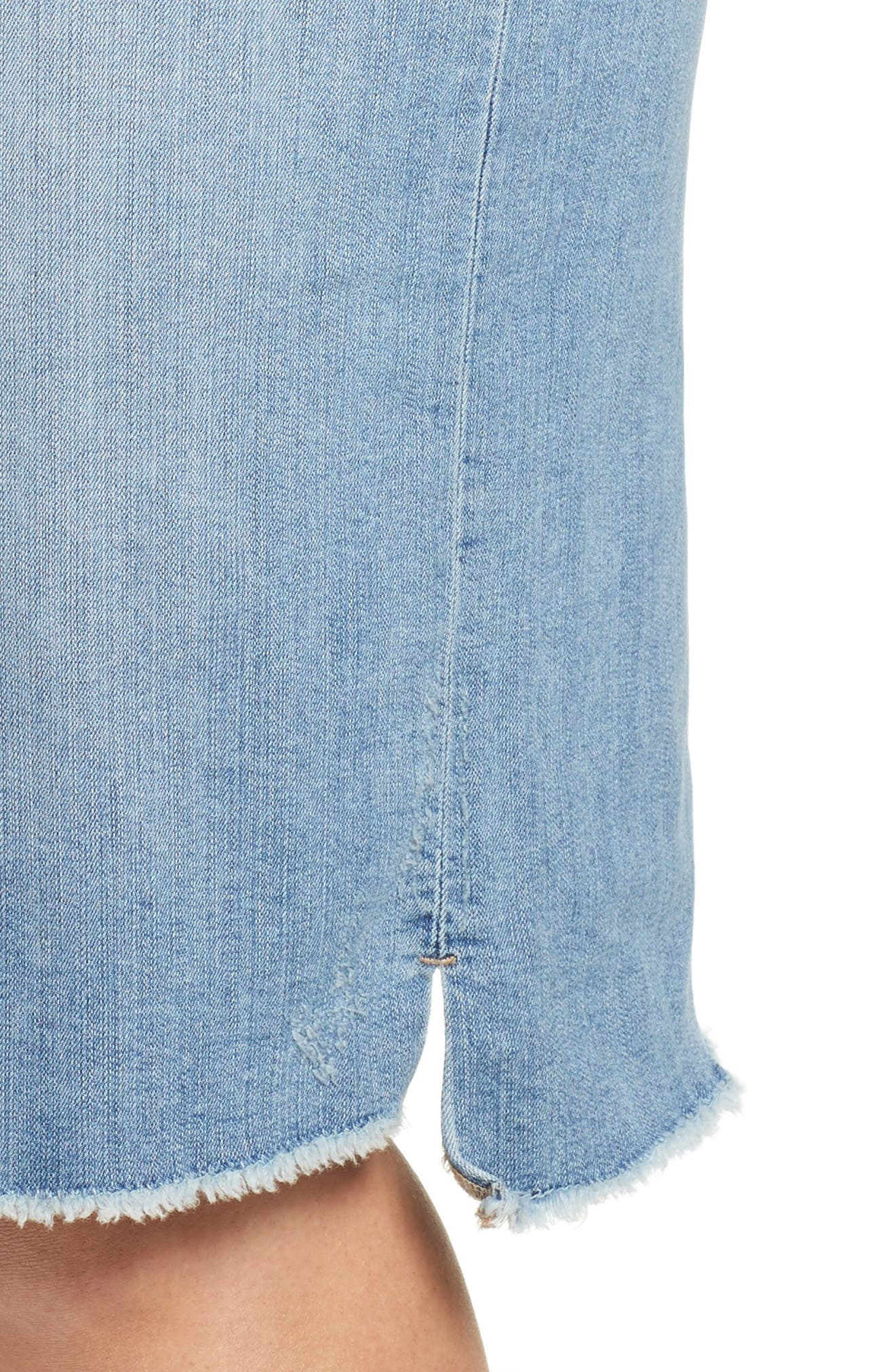 Raw Edge Denim Skirt,                             Alternate thumbnail 4, color,