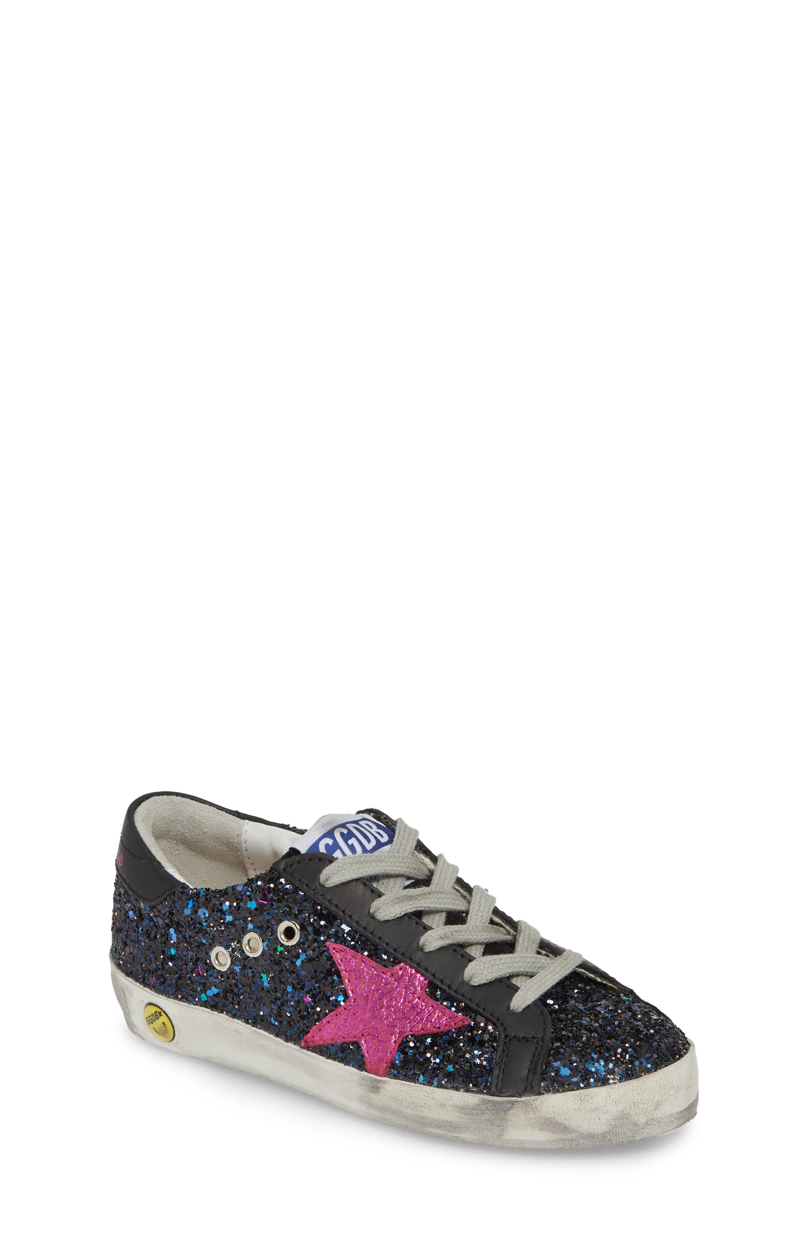 GOLDEN GOOSE,                             Superstar Glitter Low Top Sneaker,                             Main thumbnail 1, color,                             GALAXY GLITTER/ FUCHSIA STAR
