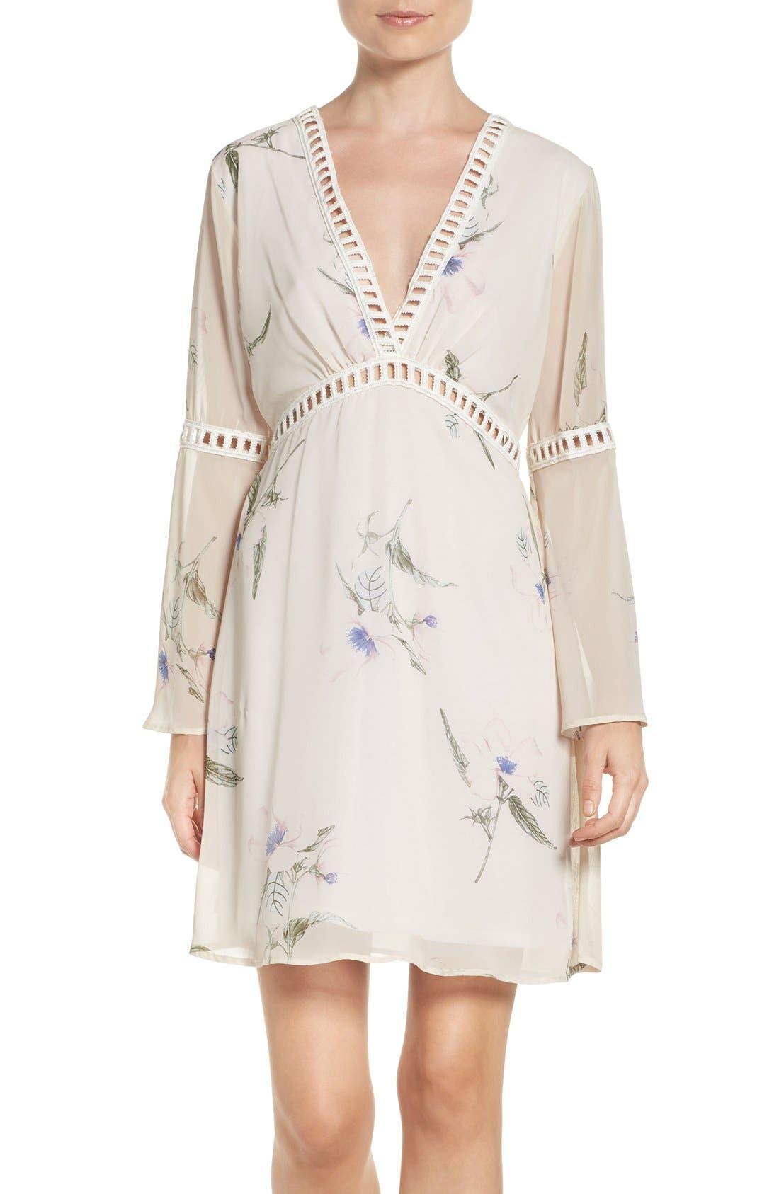 Floral Print Chiffon Blouson Dress,                         Main,                         color, LAURIE