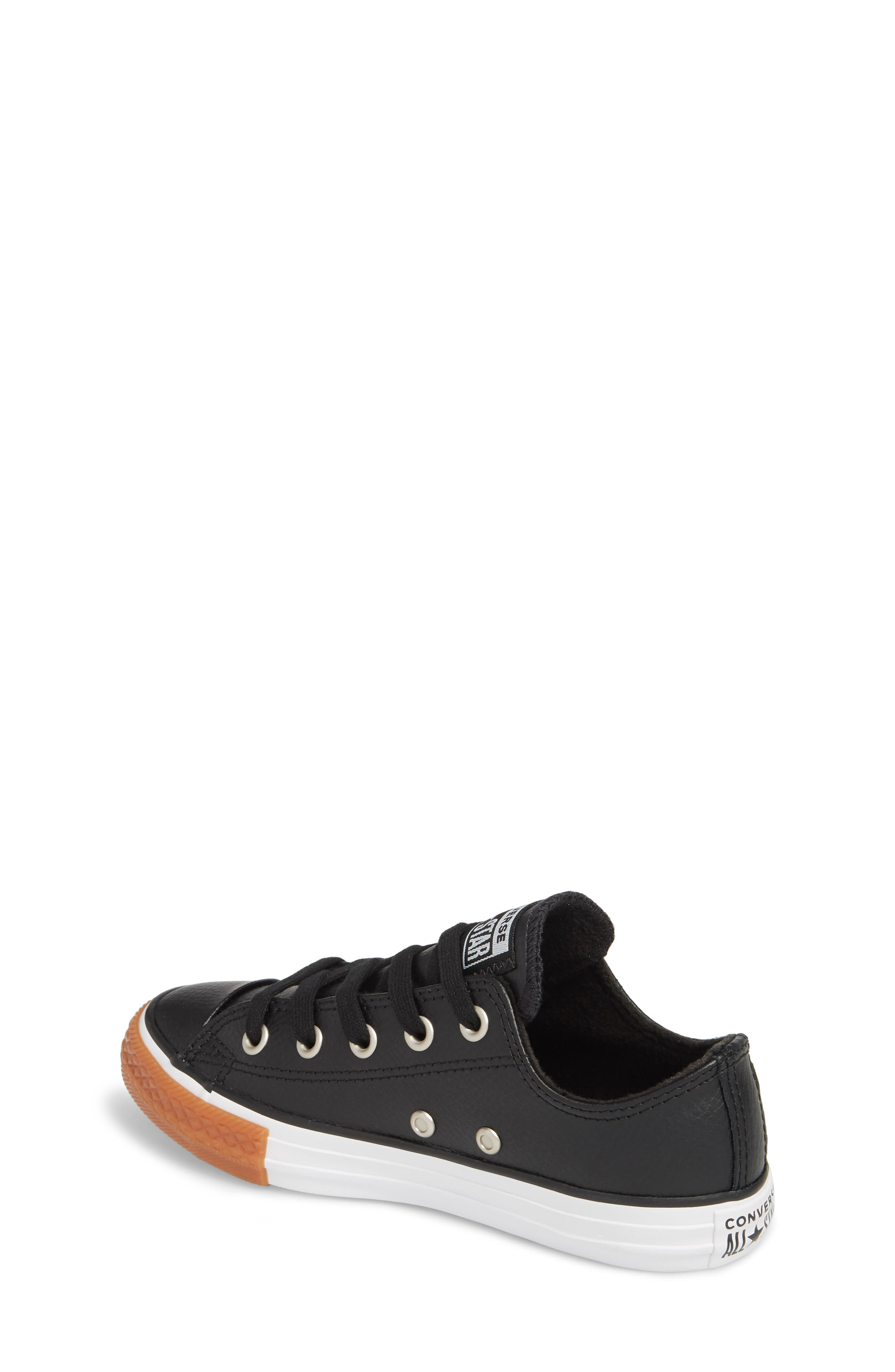 Chuck Taylor<sup>®</sup> All Star<sup>®</sup> Ox Faux Leather Sneaker,                             Alternate thumbnail 2, color,                             BLACK