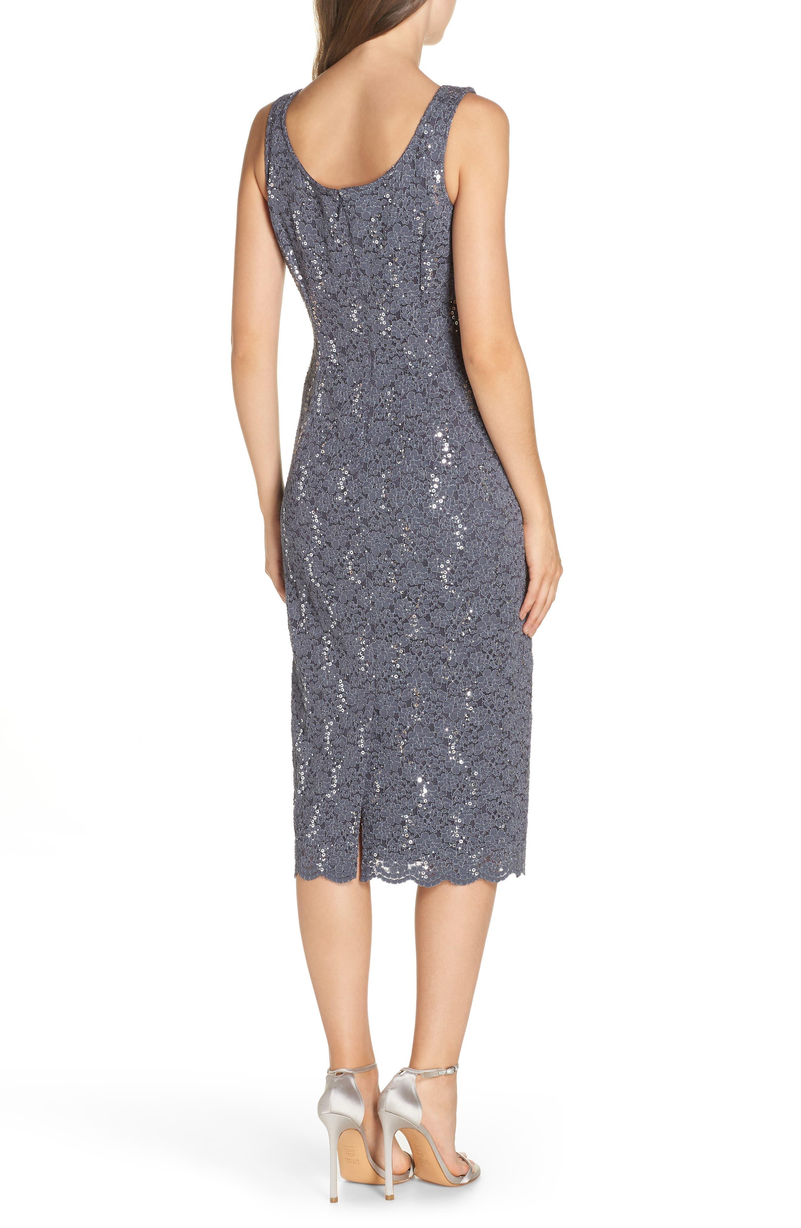 Sequin Lace Dress & Jacket,                             Alternate thumbnail 4, color,                             SMOKE