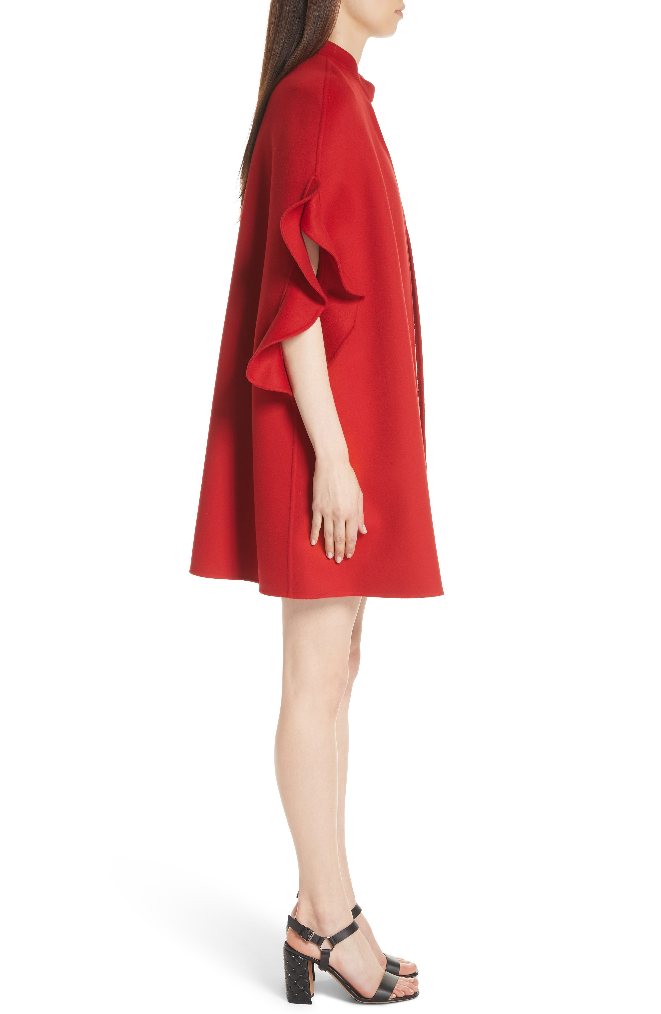 Ruffle Sleeve Compact Wool & Cashmere Cape,                             Alternate thumbnail 3, color,                             RED
