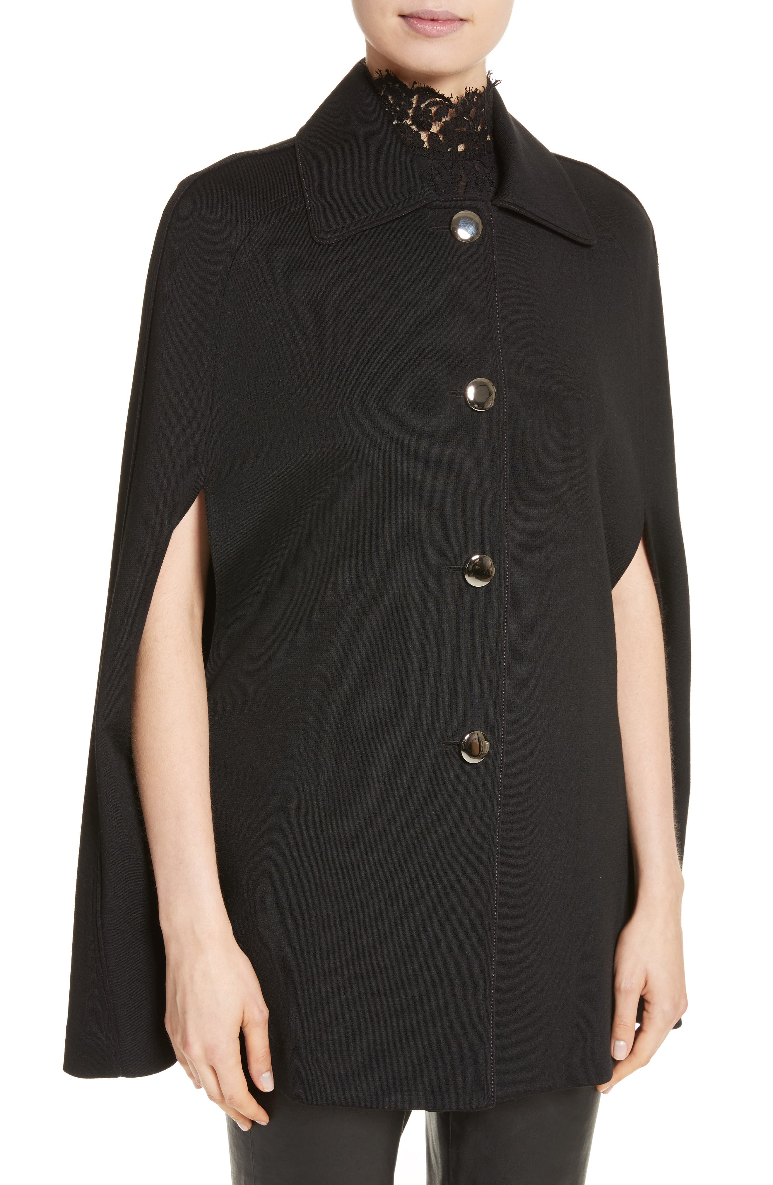 ST. JOHN COLLECTION,                             Milano Knit Collared Cape,                             Alternate thumbnail 4, color,                             001