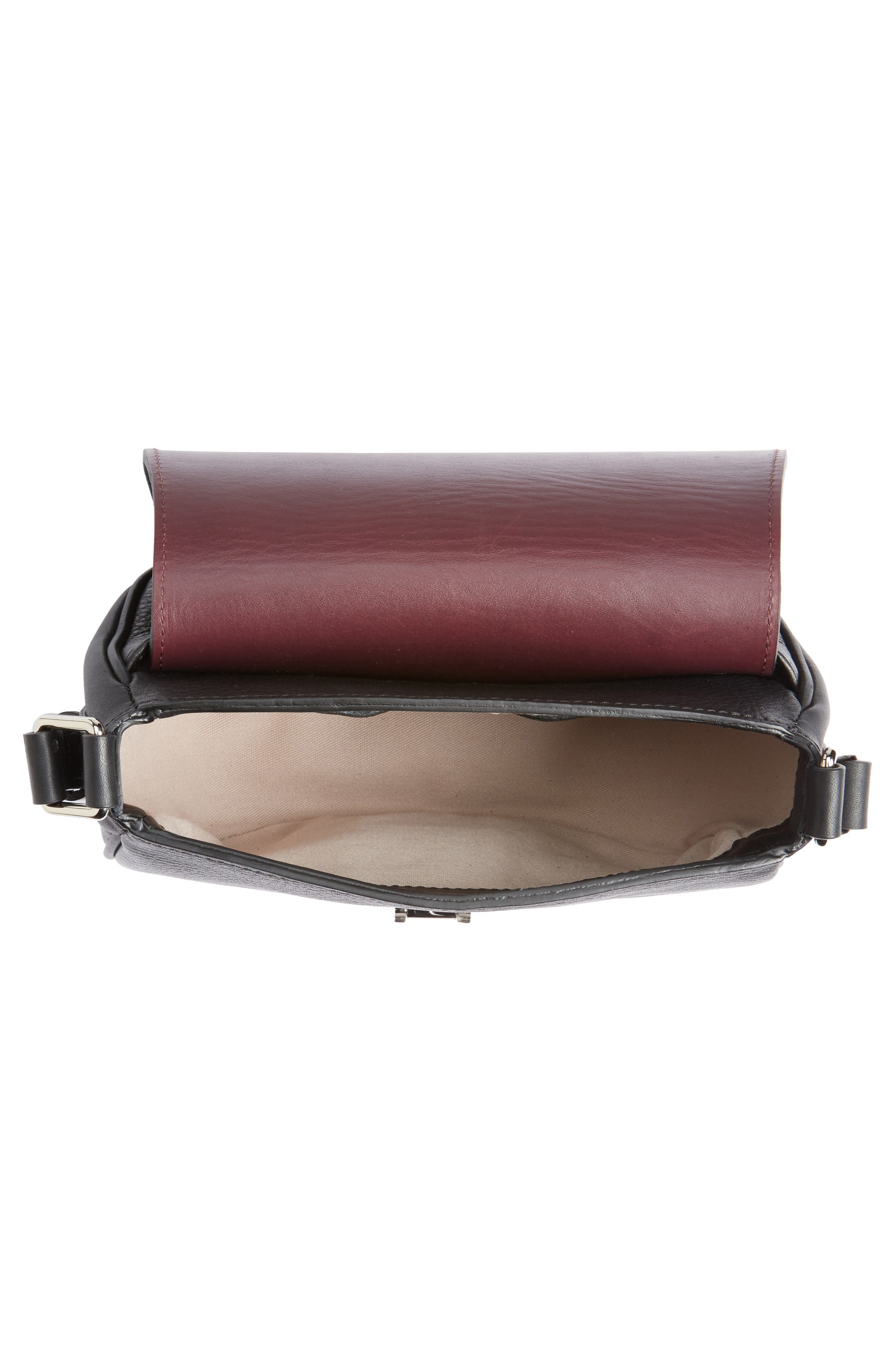 Calfskin Leather Shoulder Bag,                             Alternate thumbnail 4, color,                             001