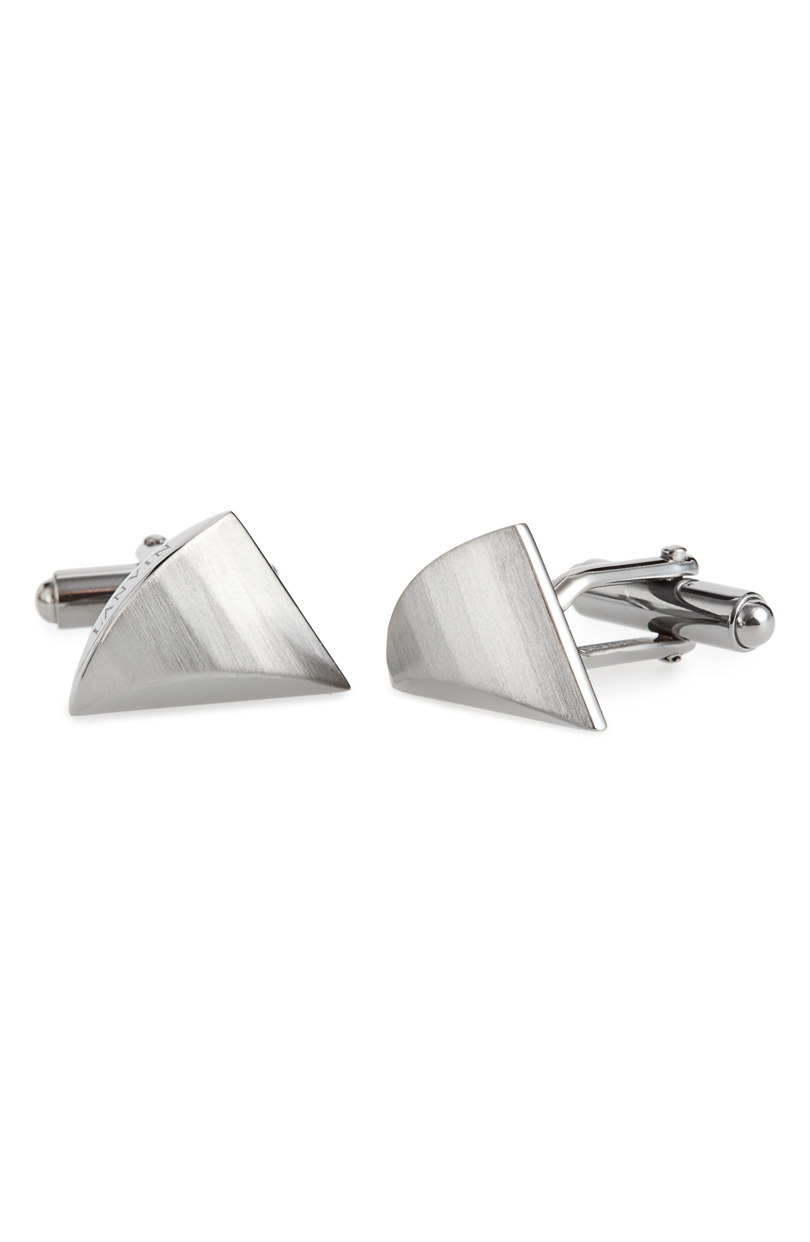 Faux Shark Tooth Cuff Links,                         Main,                         color, SILVER