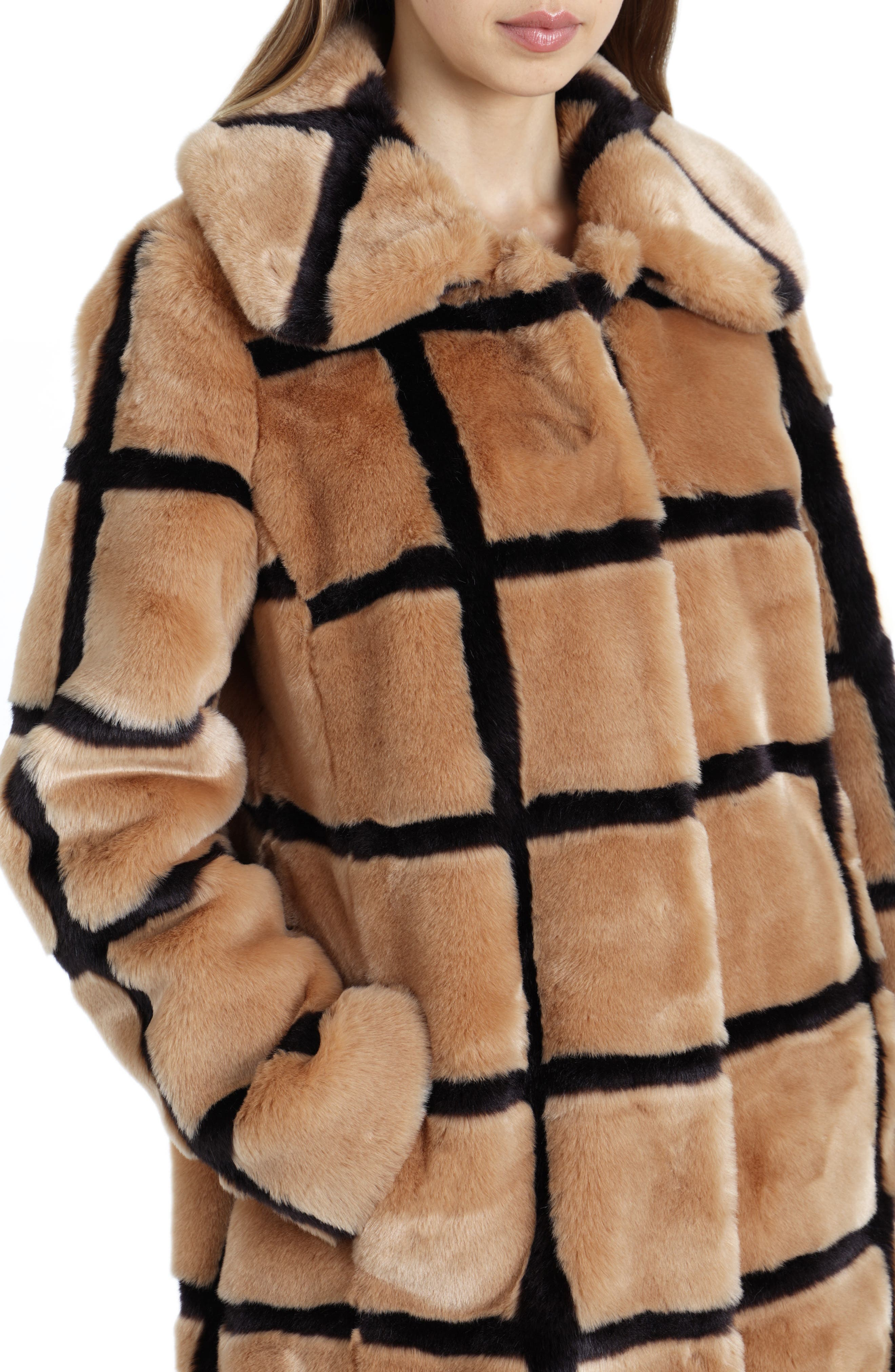 Windowpane Faux Fur Coat,                             Alternate thumbnail 4, color,                             TAN/ ESPRESSO