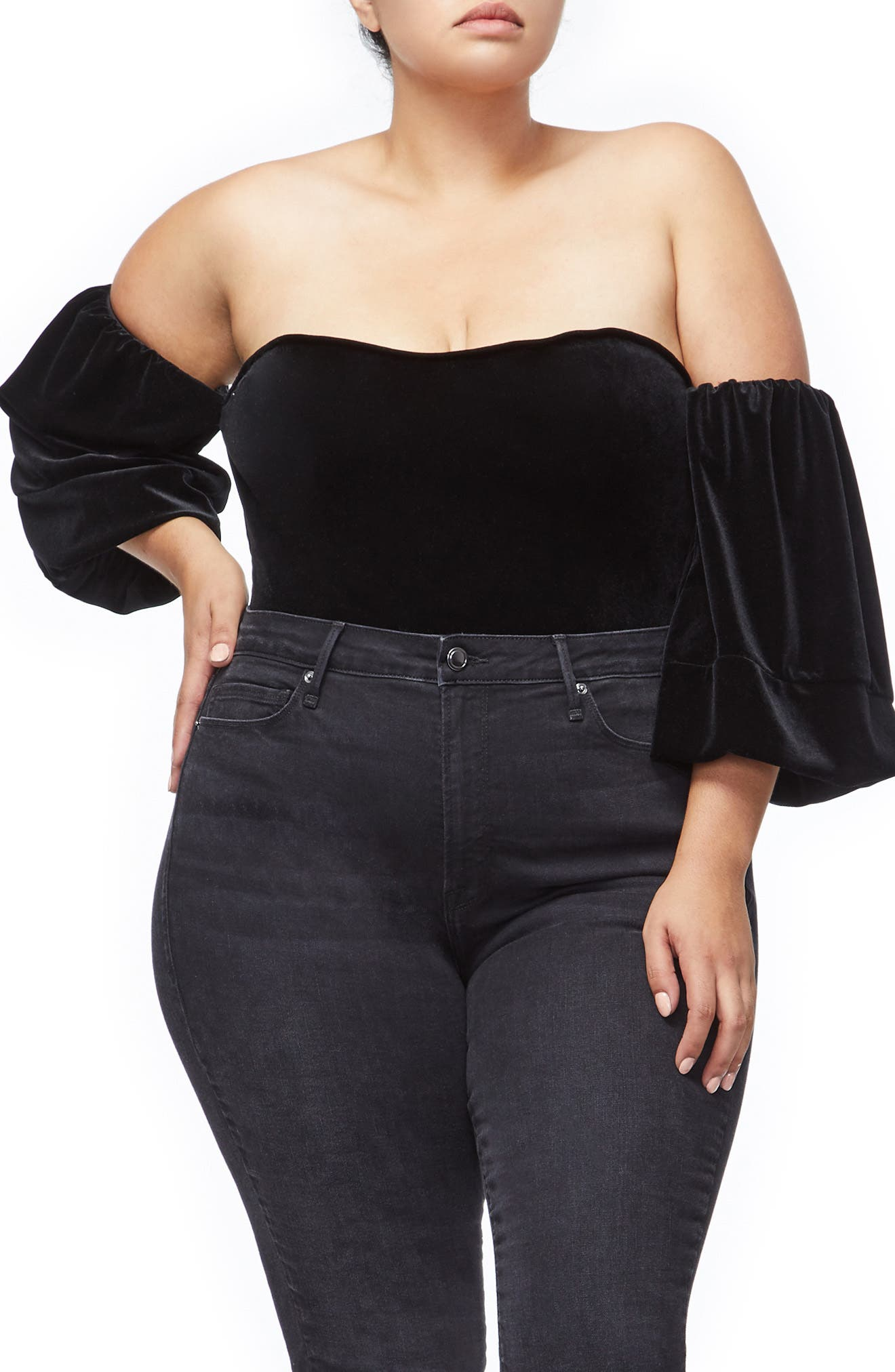 Velvet Off the Shoulder Bodysuit,                             Alternate thumbnail 2, color,                             BLACK