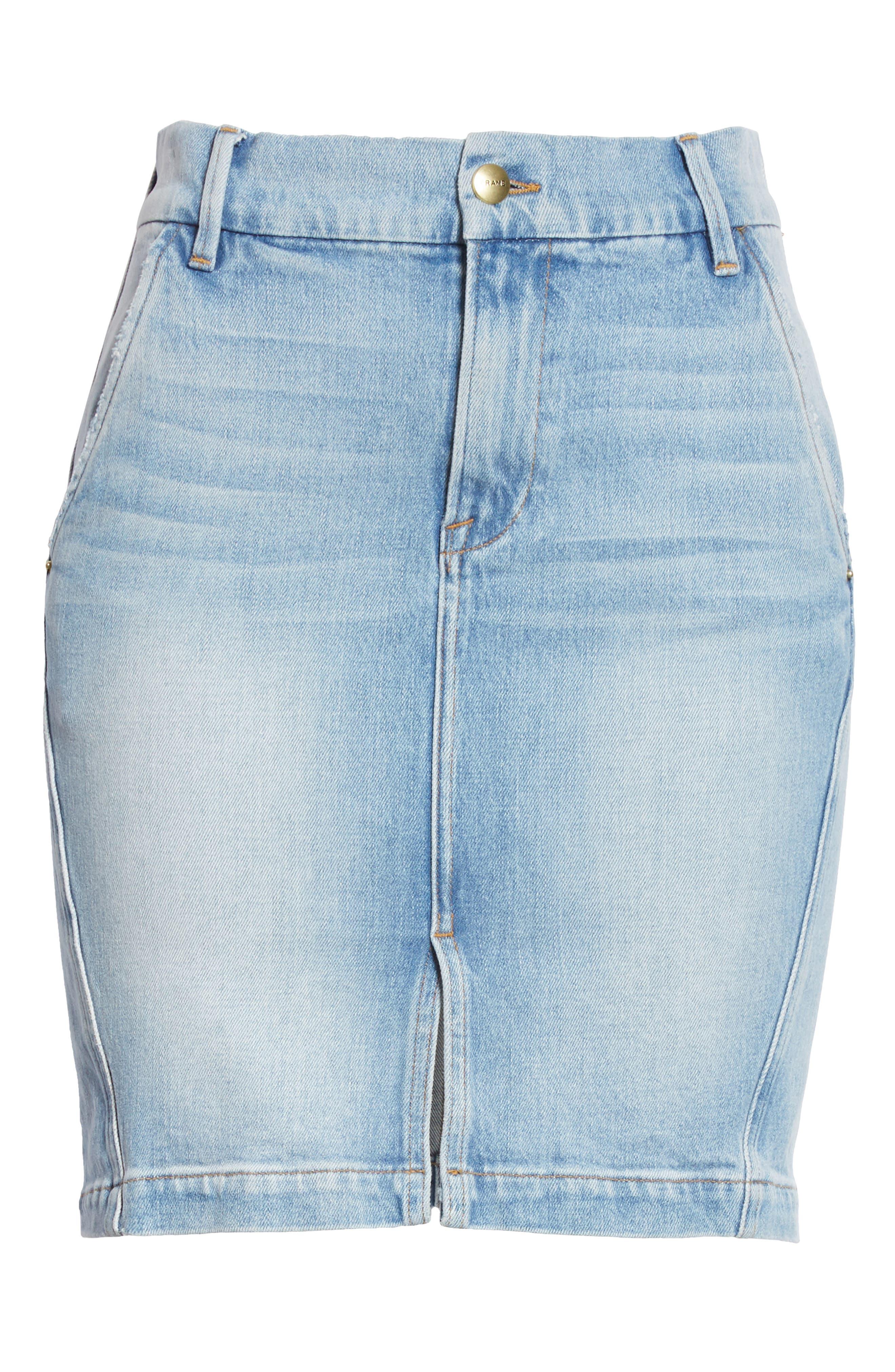 Body-Con Denim Miniskirt,                             Alternate thumbnail 7, color,                             450