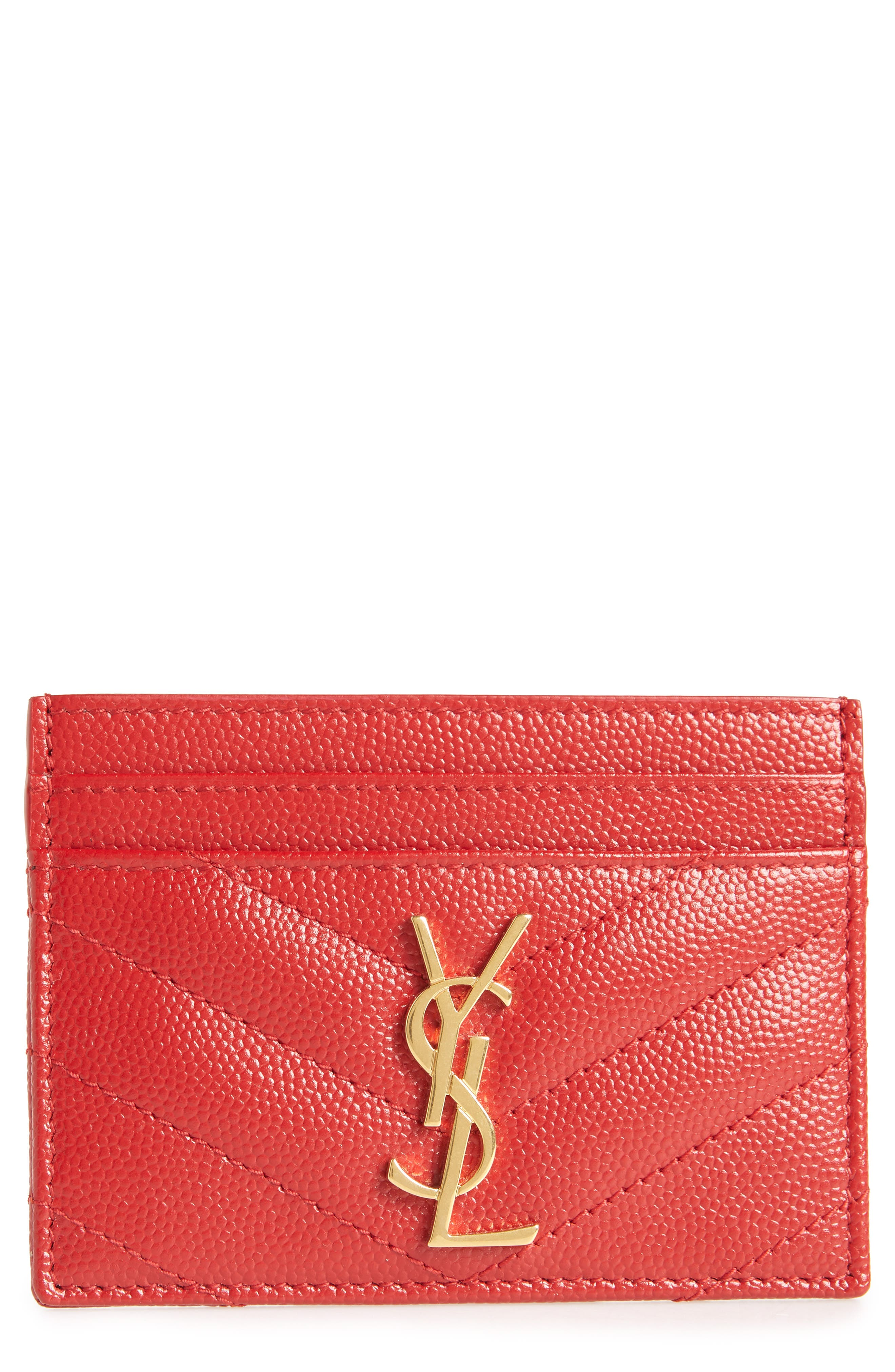 Monogram Quilted Leather Credit Card Case,                             Main thumbnail 1, color,                             ROUGE EROS