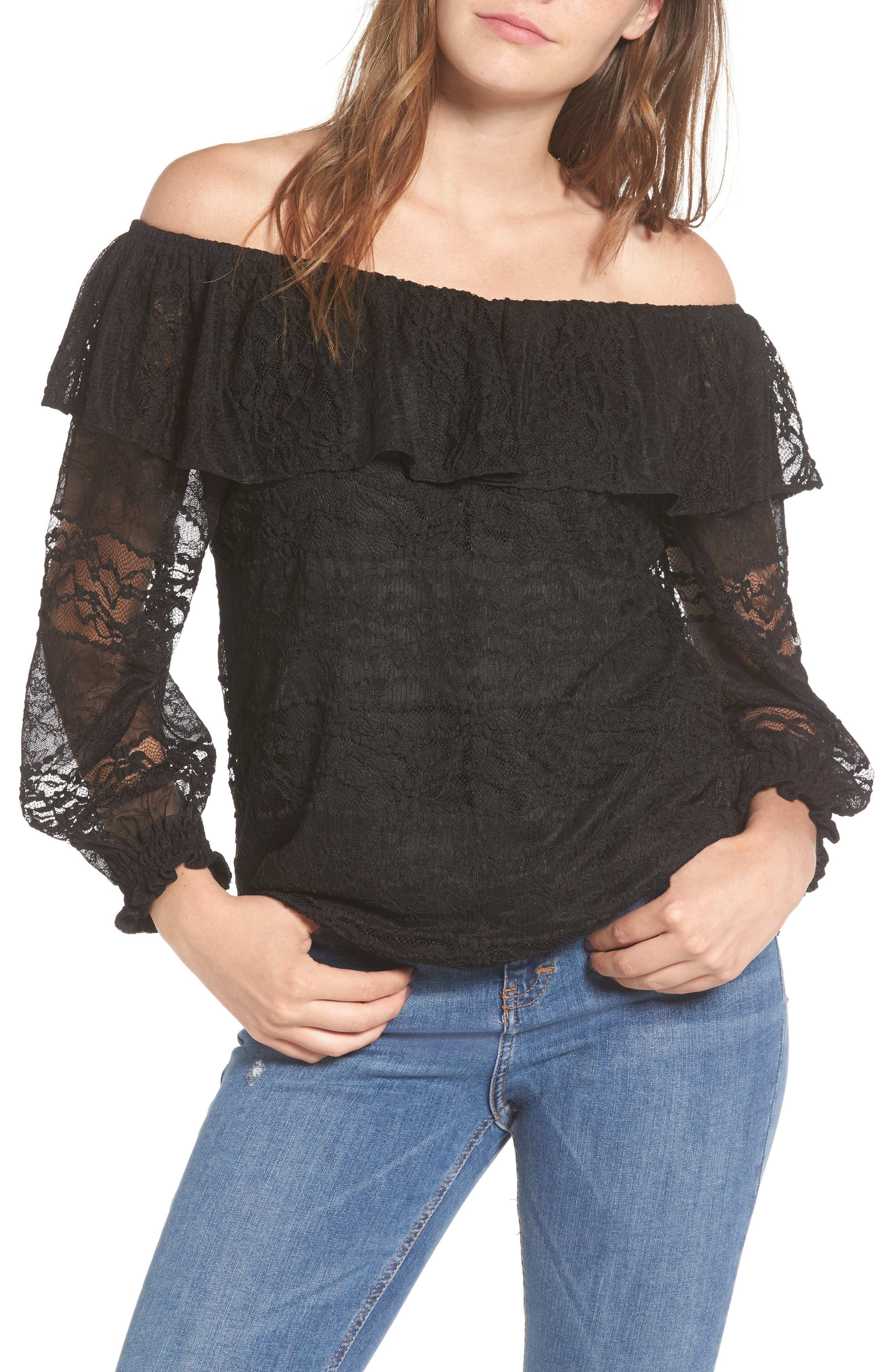 Wilma Off the Shoulder Lace Blouse,                             Main thumbnail 1, color,                             001