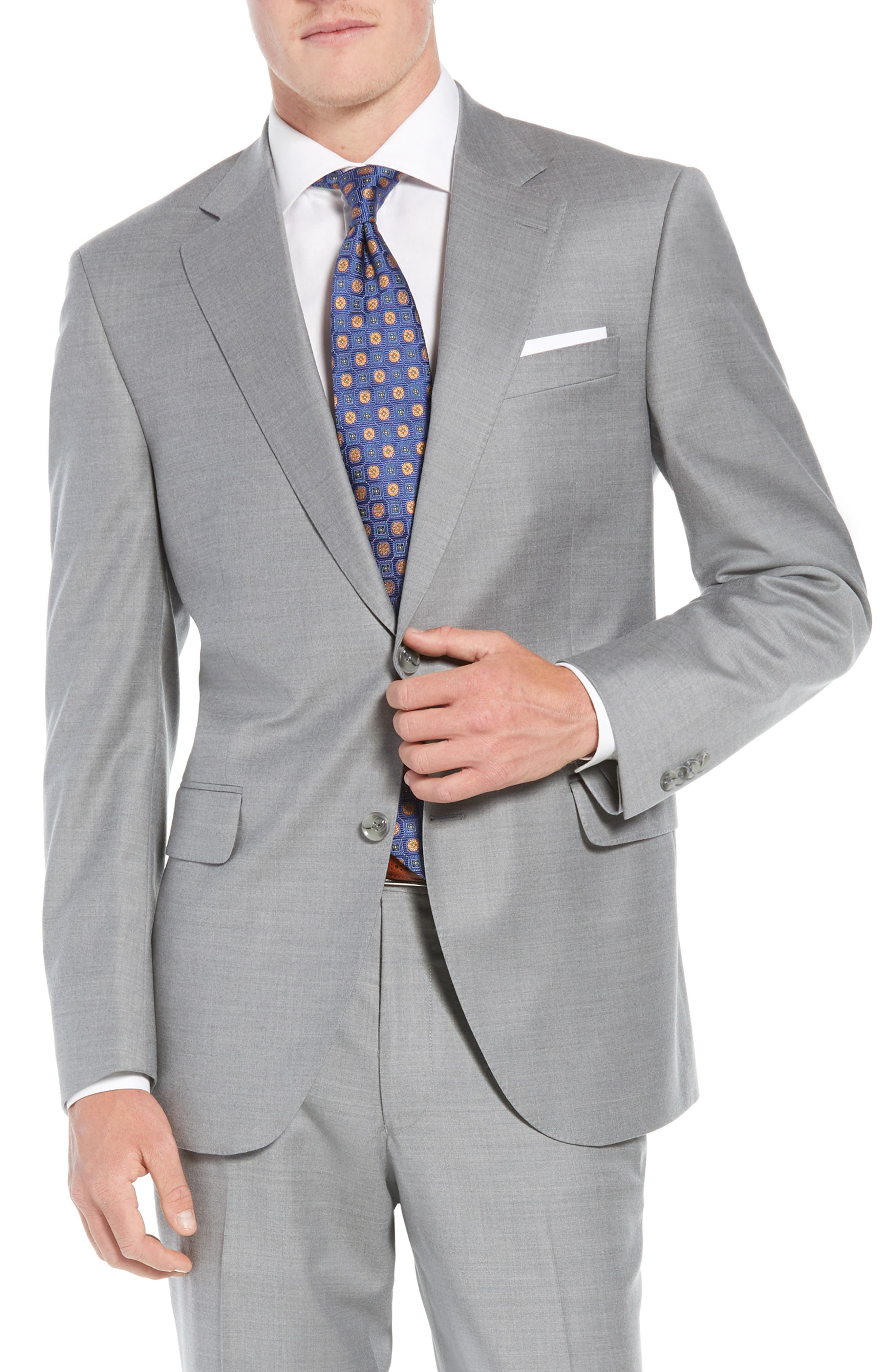 Flynn Classic Fit Solid Wool Suit,                             Alternate thumbnail 5, color,                             LIGHT GREY